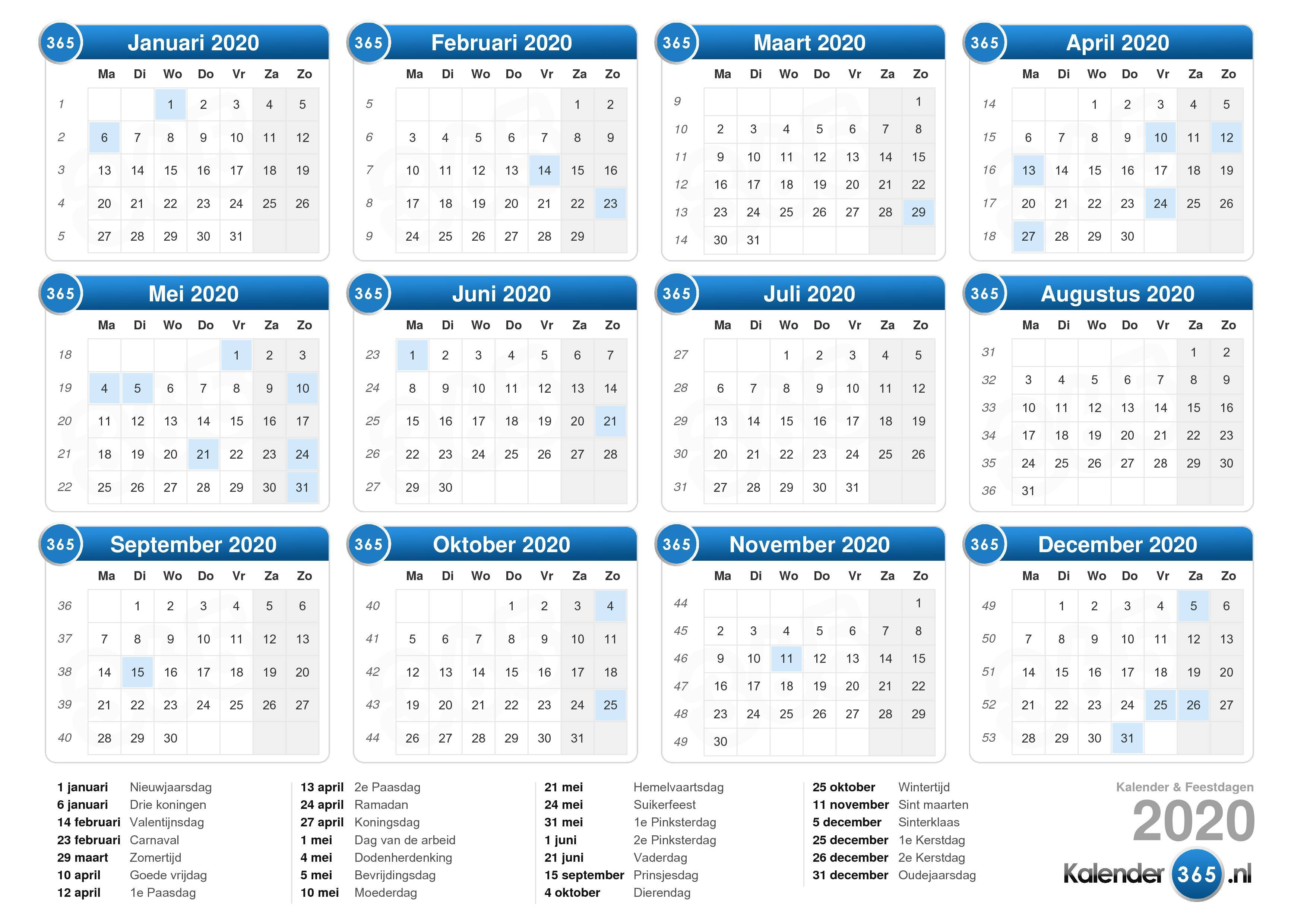 Kalender 2020 intended for Calendar 2020 Nl