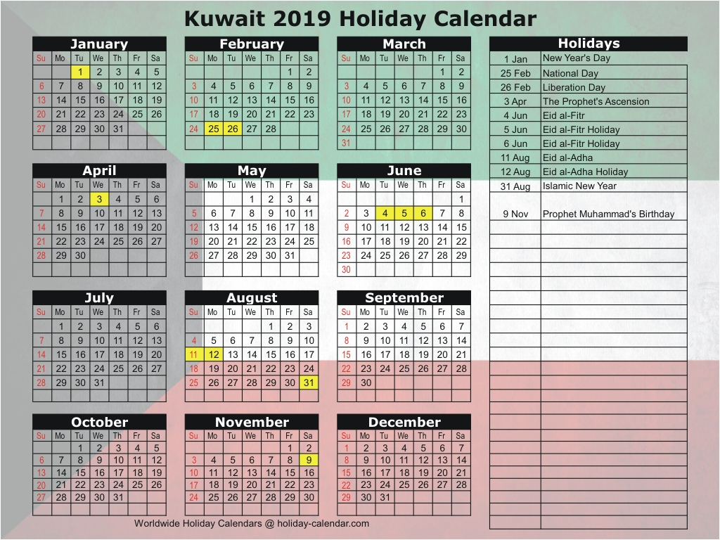 Kuwait 2019 / 2020 Holiday Calendar intended for 2020 Calendar Showing Holidays In Kuwait