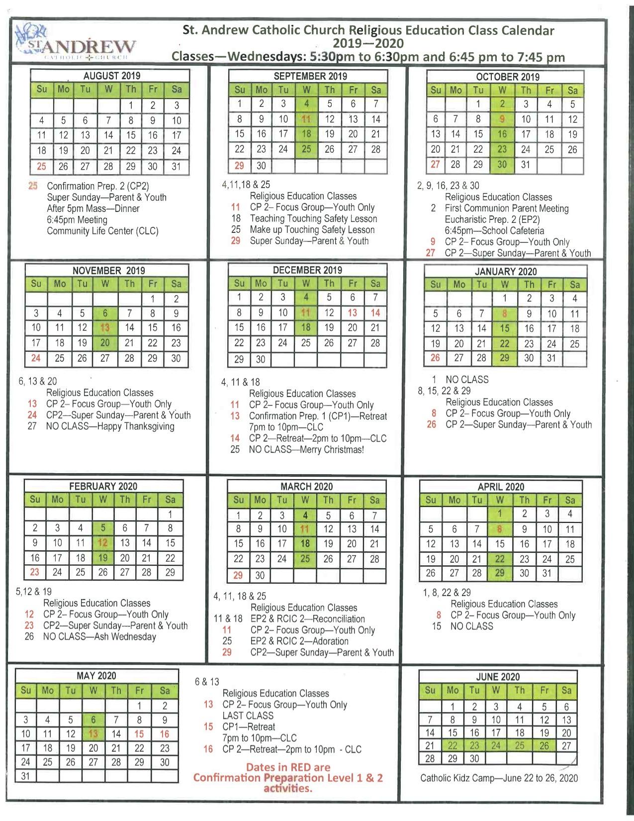 Liturgical Calendar - St. Andrew Catholic School for 2020 Catholic Liturgical Calendar Activities