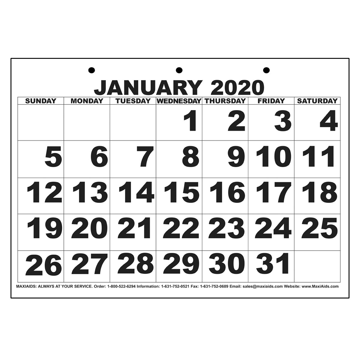 Low Vision Print Calendar - 2020 throughout Large Numbers Free Printable Calendar 2020