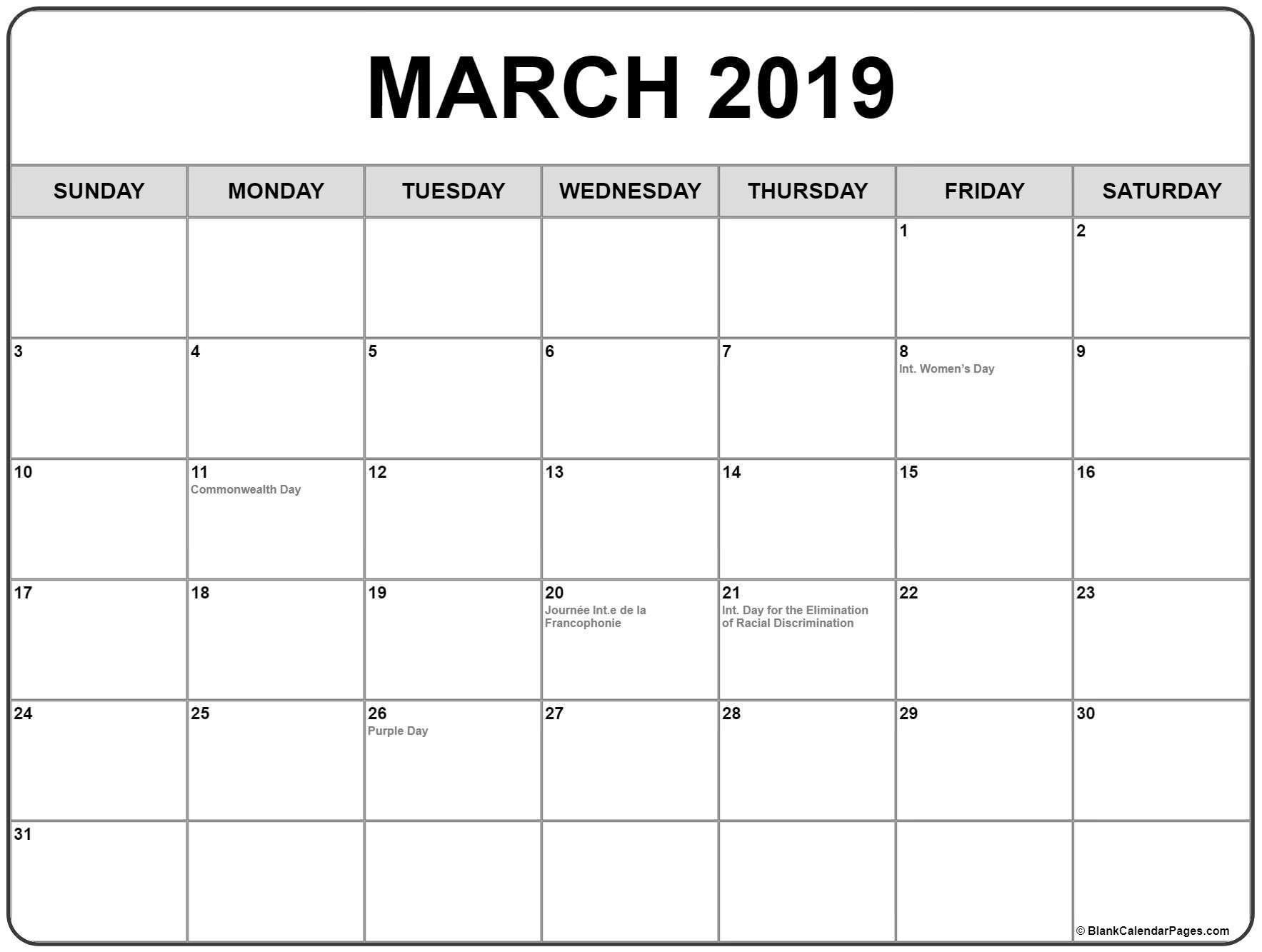 March 2019 Calendar Canada With Holidays - Free Printable with Printable Canadian Calendar With Holidays