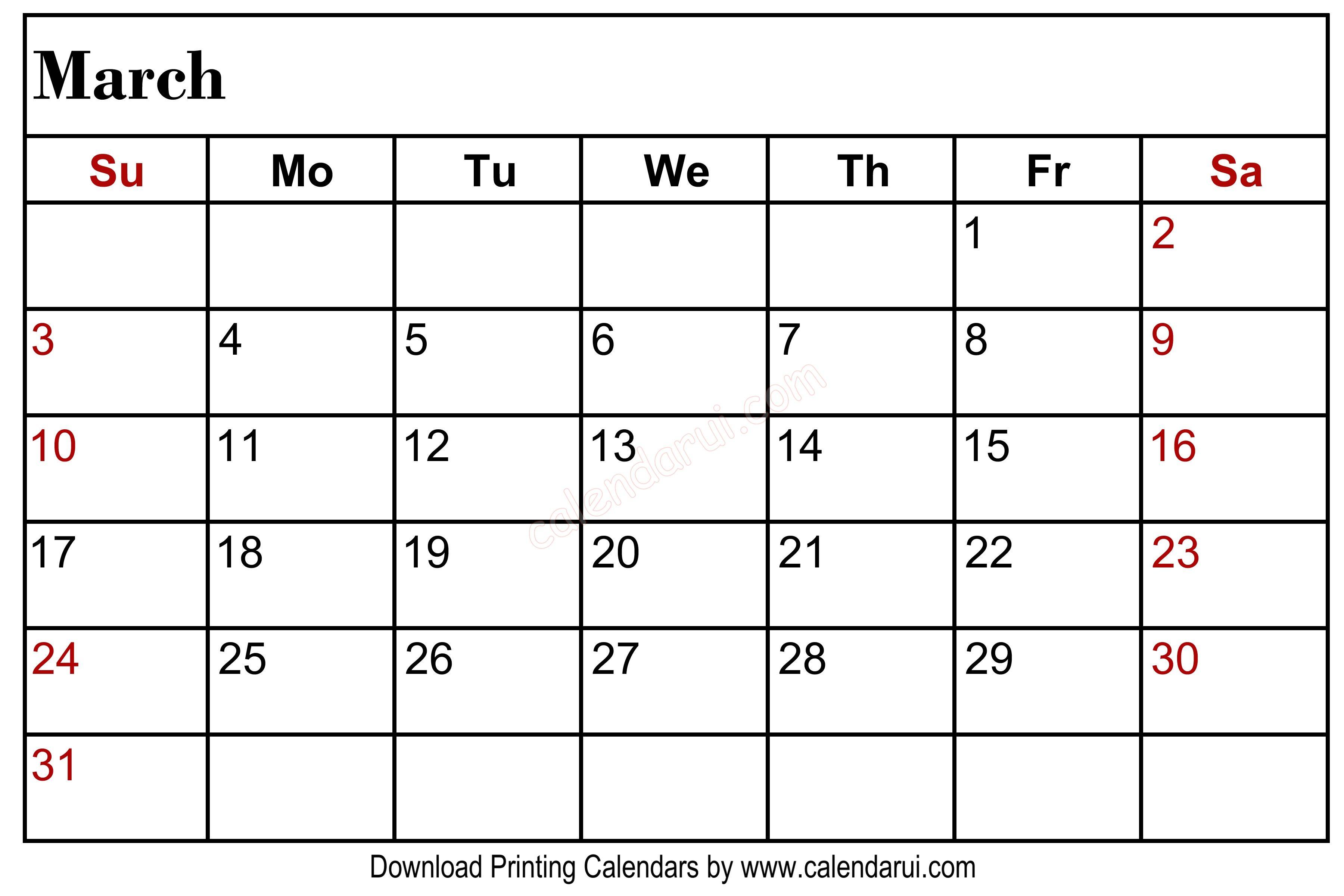 March 2020 Blank Calendar Printable Left Header | Blank throughout Free Printable 2020 Canadian Calendar