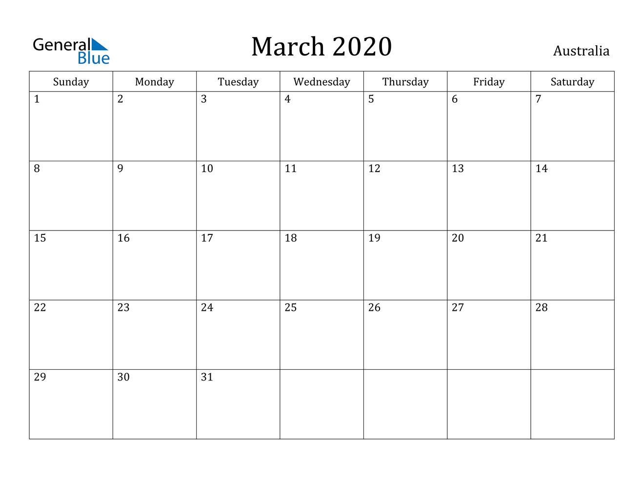 March 2020 Calendar - Australia inside Calendar 2020 Australia