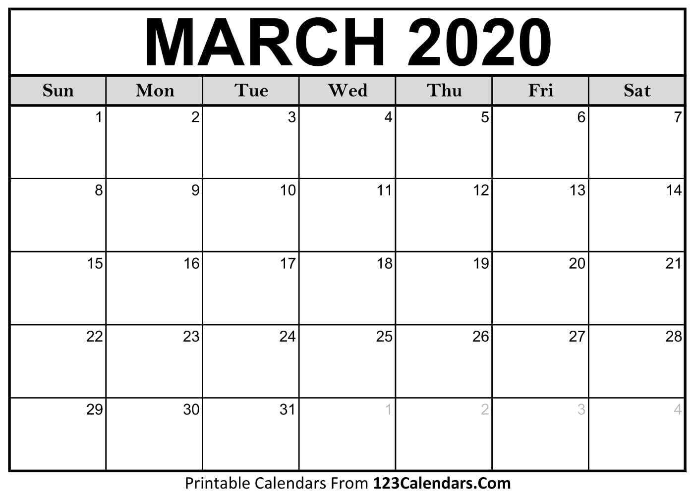 March 2020 Printable Calendar | 123Calendars for 2020 Monthly Fill In Calendars
