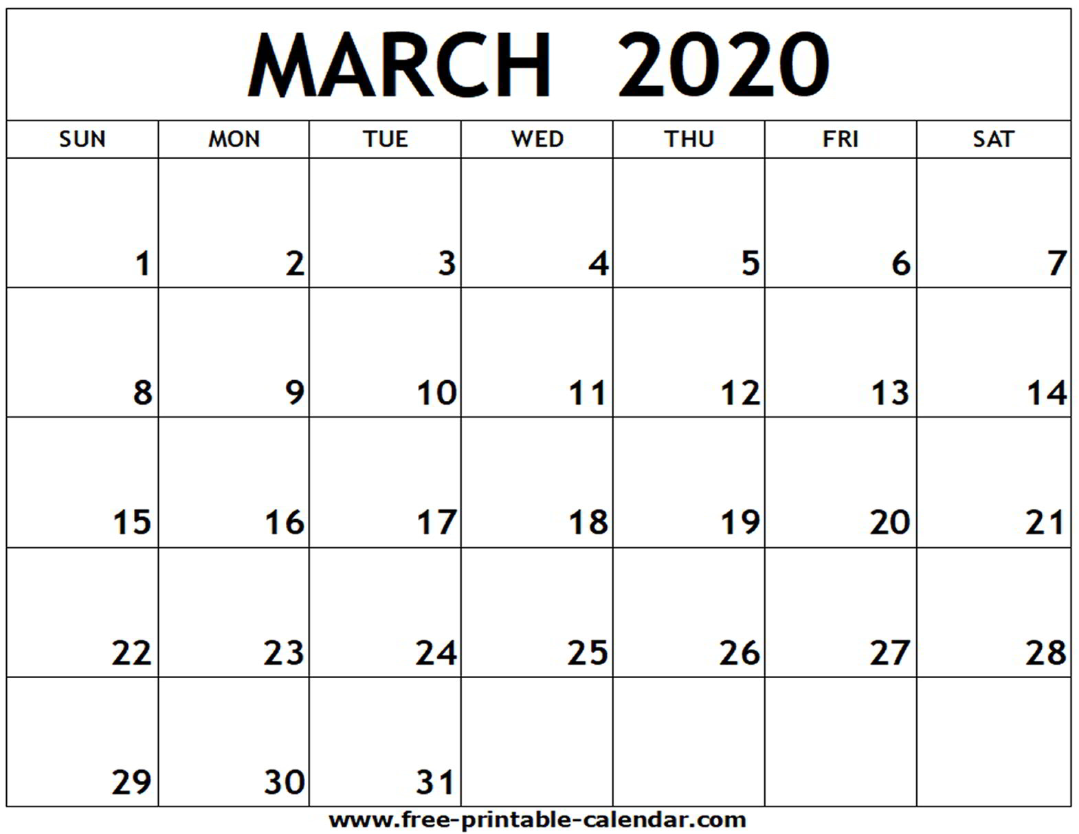 March 2020 Printable Calendar - Free-Printable-Calendar for 2020 Calendar Free Printable