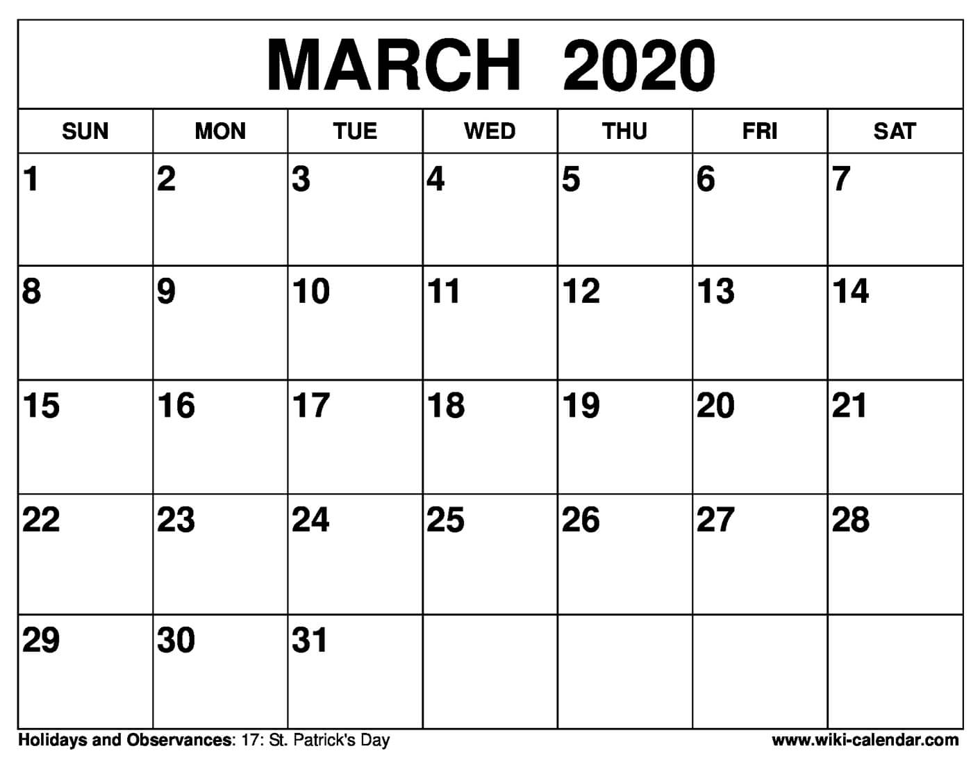 March Calendar 2020 - Wpa.wpart.co intended for Vertex 2020 Calendars Monday Through Sunday