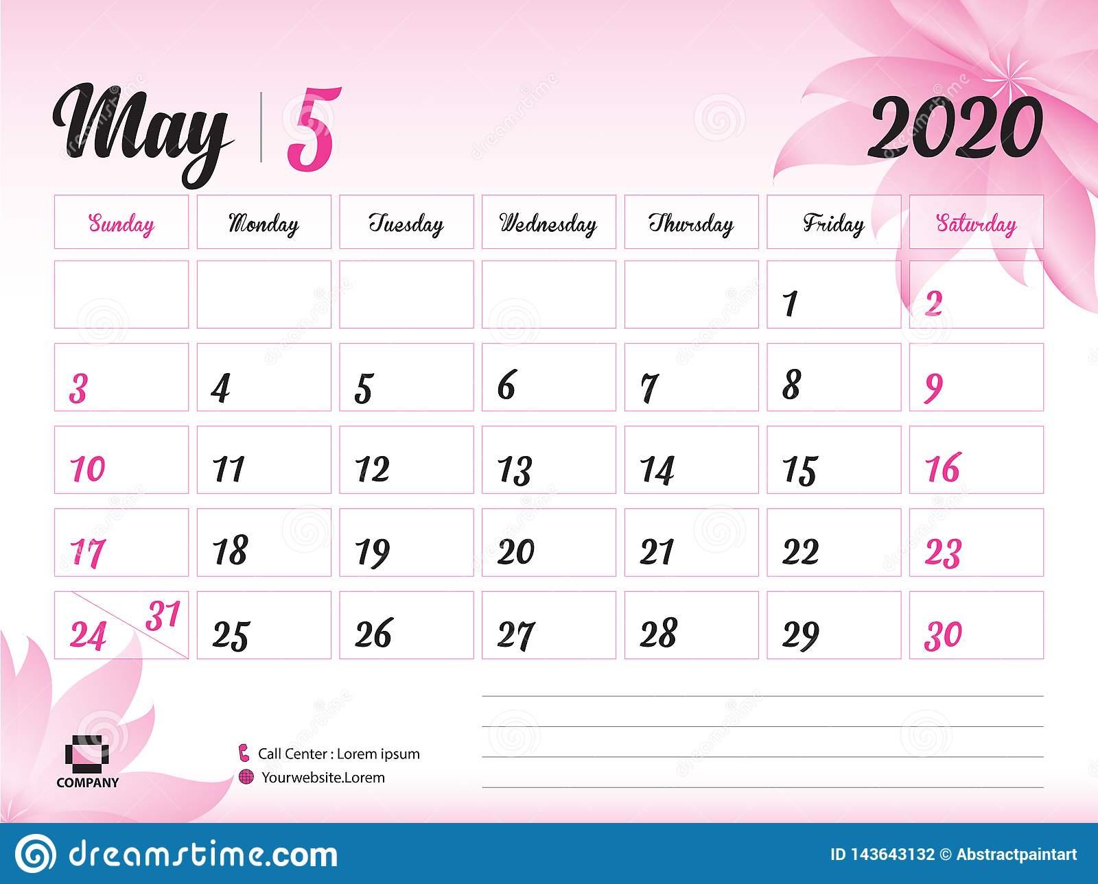 May 2020 Year Template, Calendar 2020 Vector, Desk Calendar intended for Festive Printable Calendar 2020