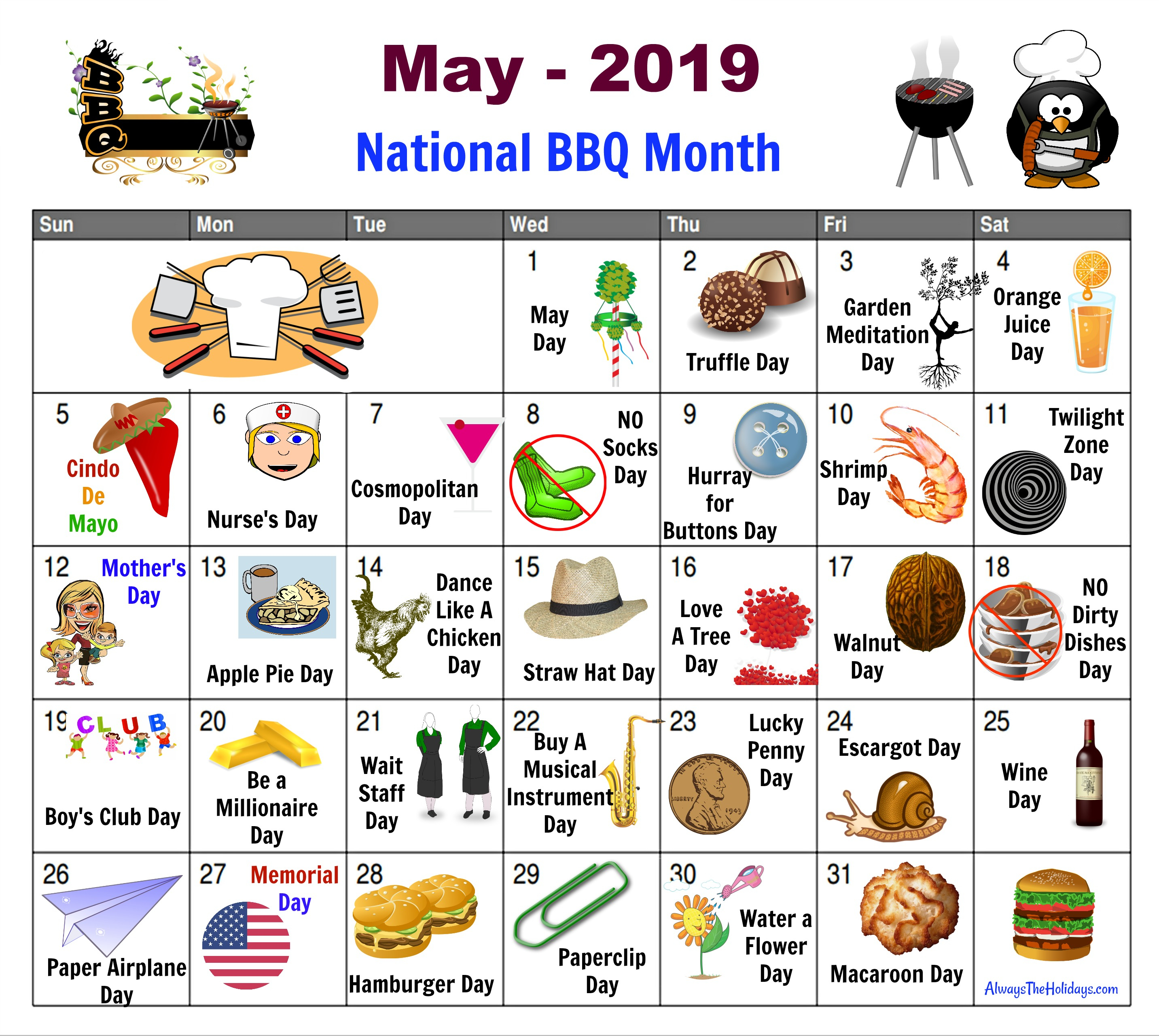 May National Day Calendar - Free Printable - Always The Holidays pertaining to National Food Day With Events Calender 2020 Free To Print Up