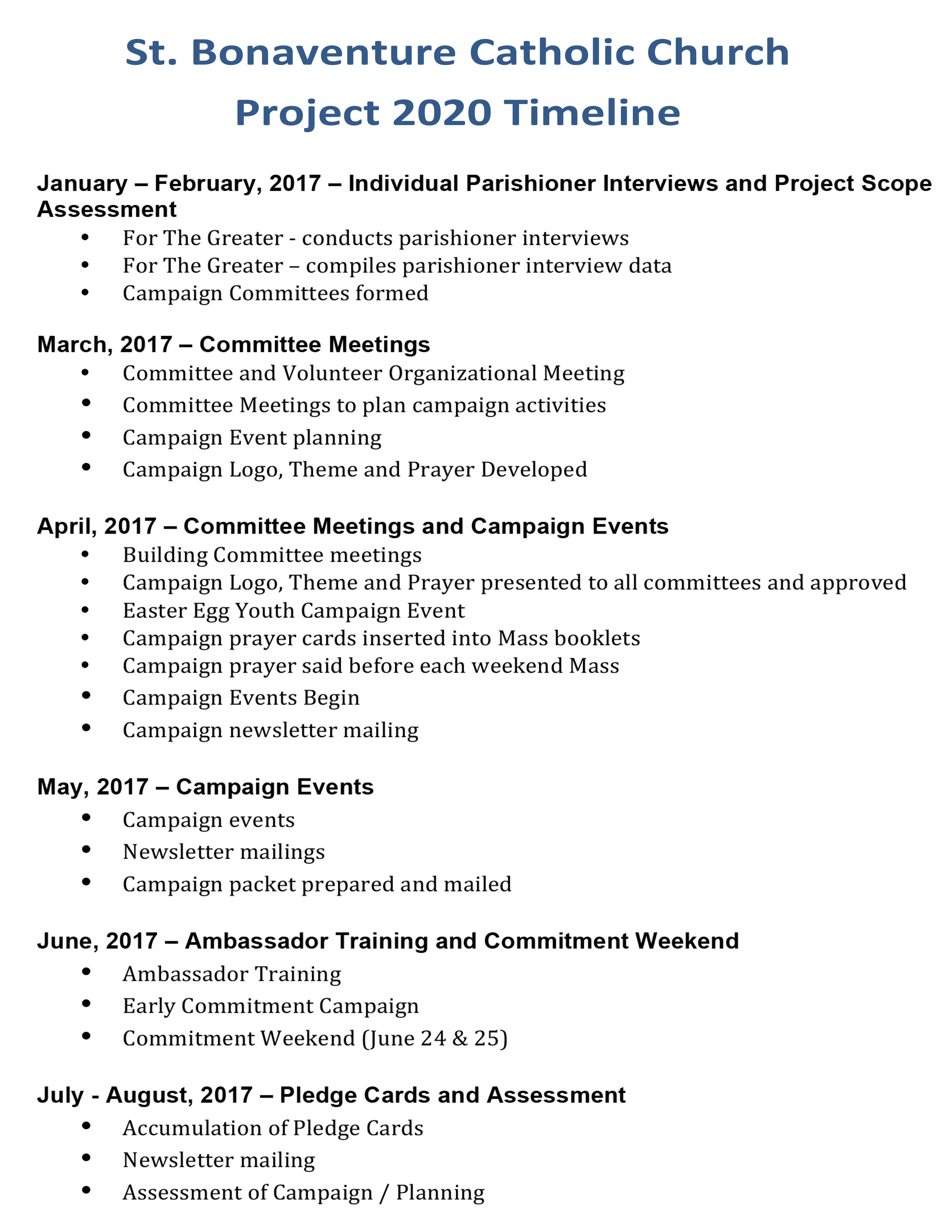 Microsoft Word - Project 2020 Timeline.docx - Saint for 2020 Catholic Liturgical Calendar Activities