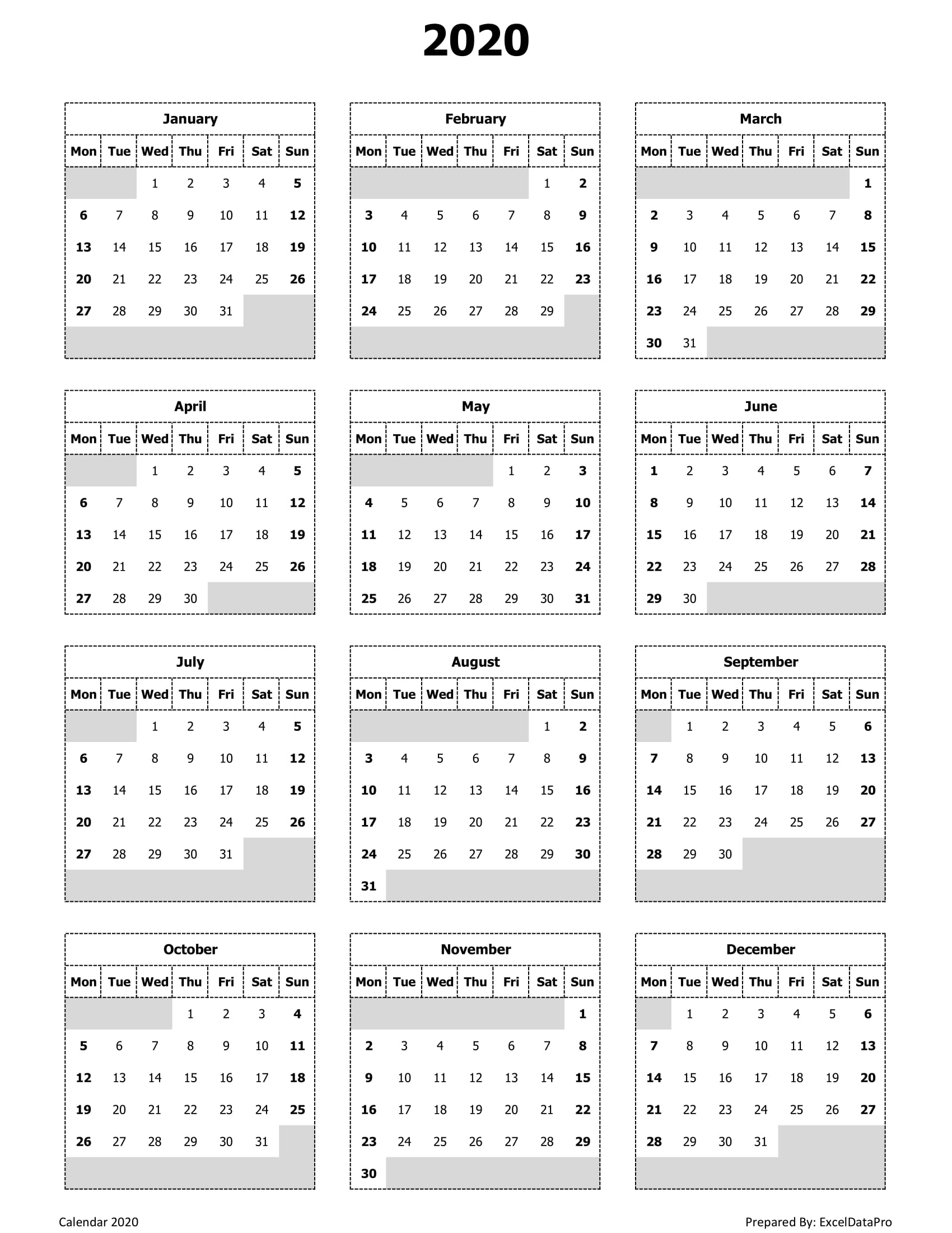 Monday Start Calendar 2020 - Wpa.wpart.co with 2020 Printable Calendars Beginning With Monday