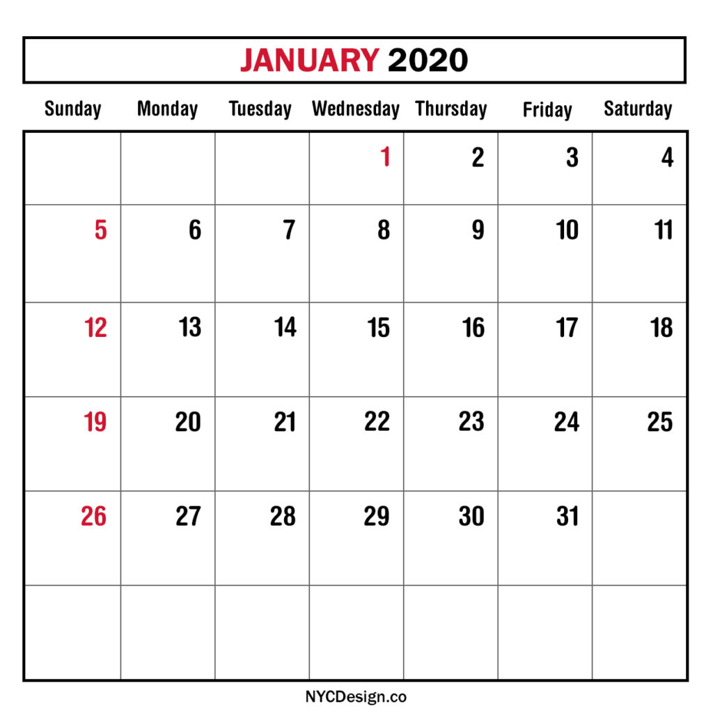 Monthly Calendar January 2020, Monthly Planner, Printable with 2020 Printable Calendar Sunday To Saturday