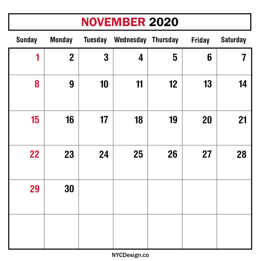 Monthly Calendar November 2020, Monthly Planner, Printable in Bring Up Calander For October And November 2020