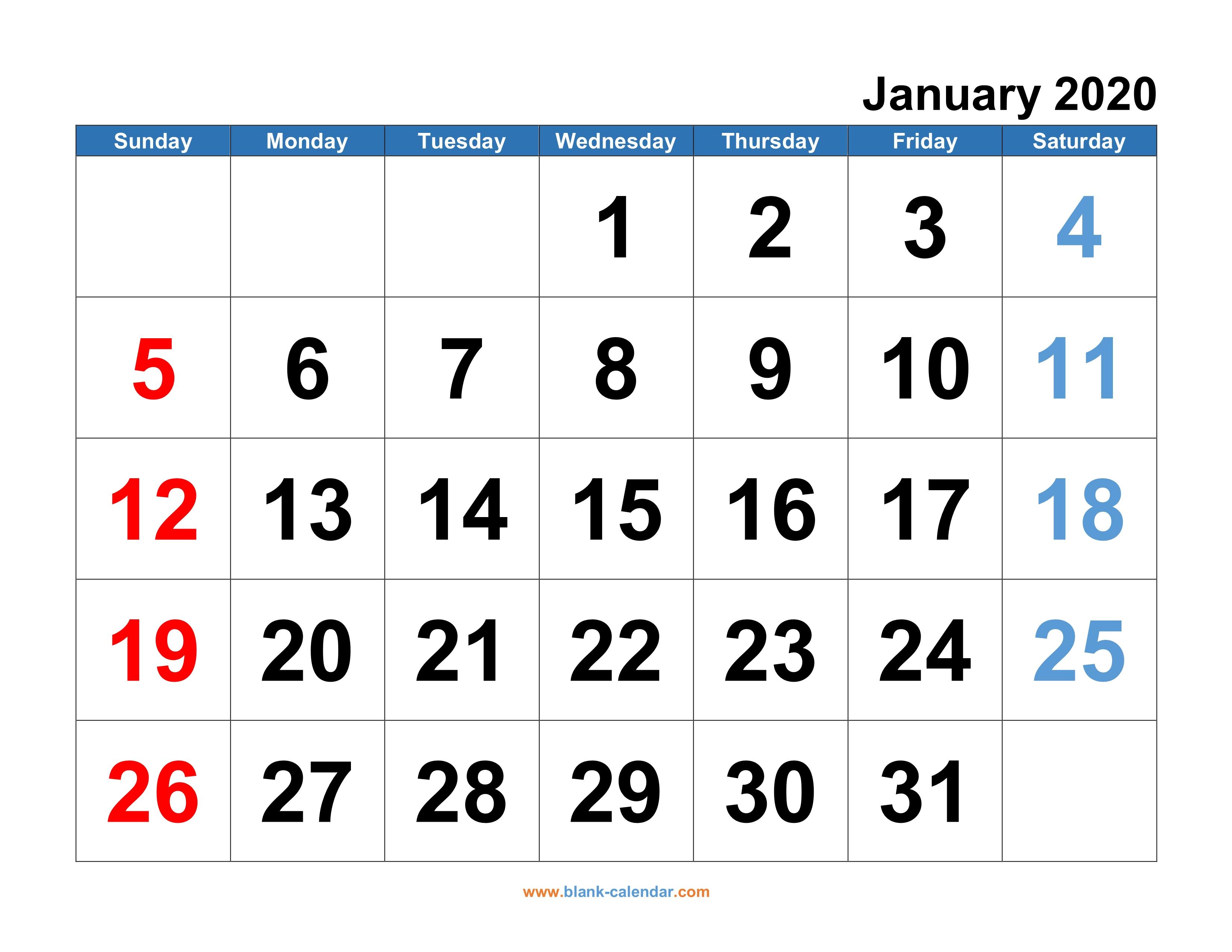 Monthly Calendar Printable 2020 - Wpa.wpart.co regarding Large Numbers Free Printable Calendar 2020