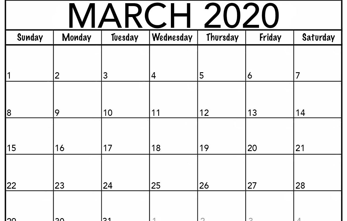 Monthly March 2020 Calendar – Blank Printable Template intended for 2020 Monthly Fill In Calendars