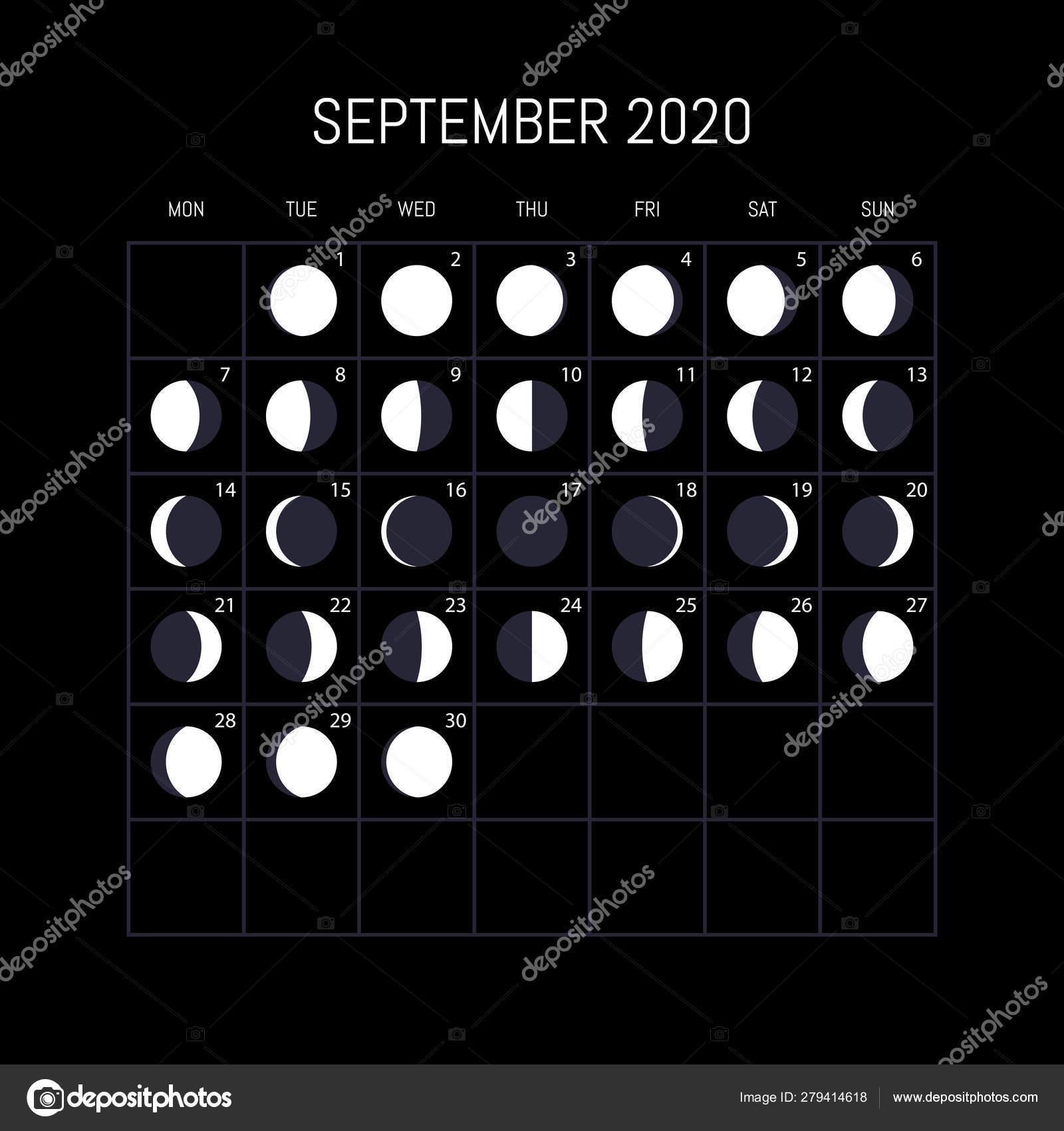 Moon Phases Calendar For 2020 Year. September. Night inside September 2020 Moon Phases Calendar