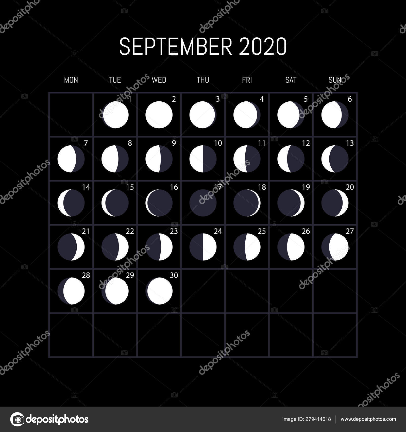Moon Phases Calendar For 2020 Year. September. Night pertaining to Moon Chart September 2020