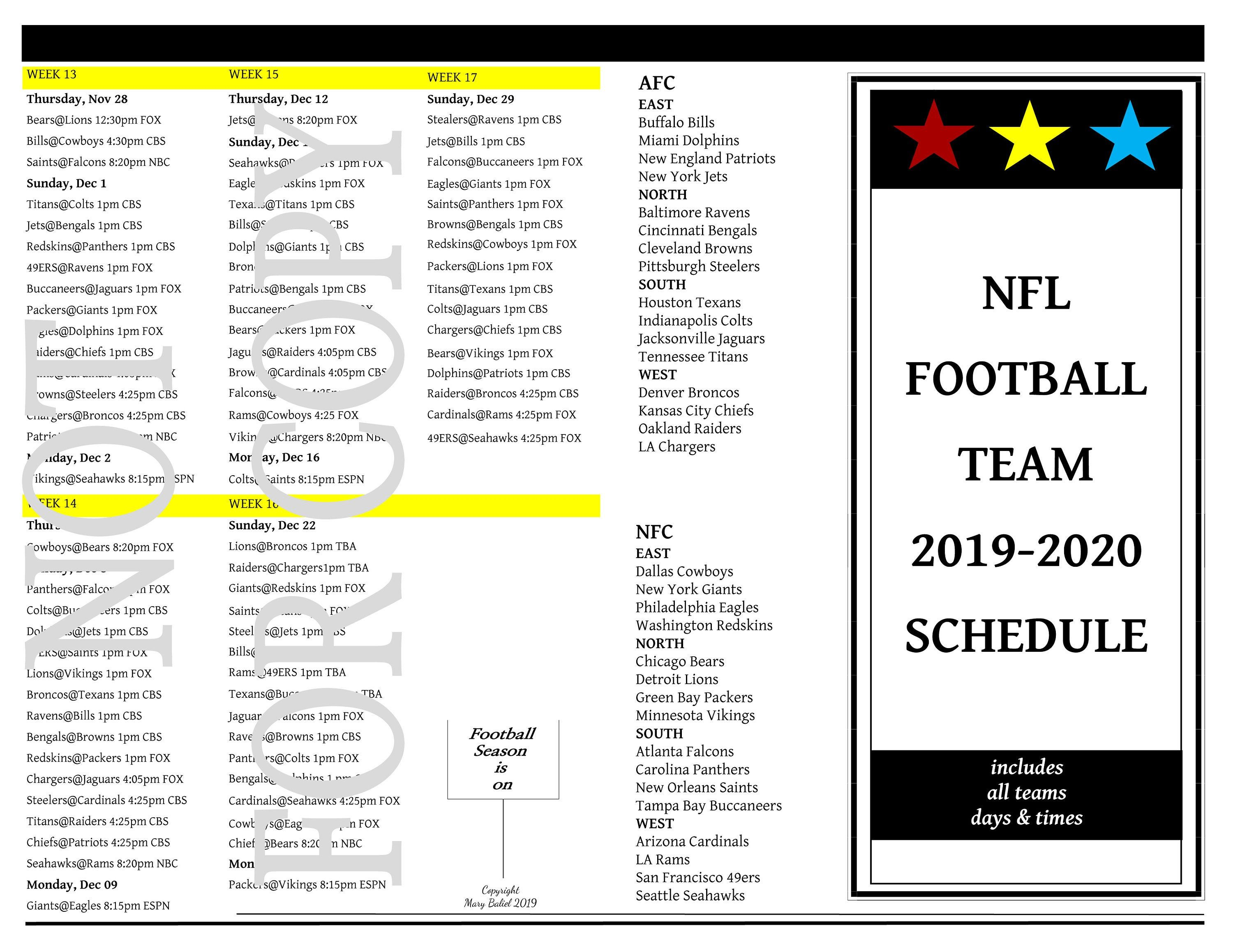 Nfl Custom 2019-2020 Football Schedule | All Nfl Teams, Nfl within Free Printable Nfl Schedule 2020 2020