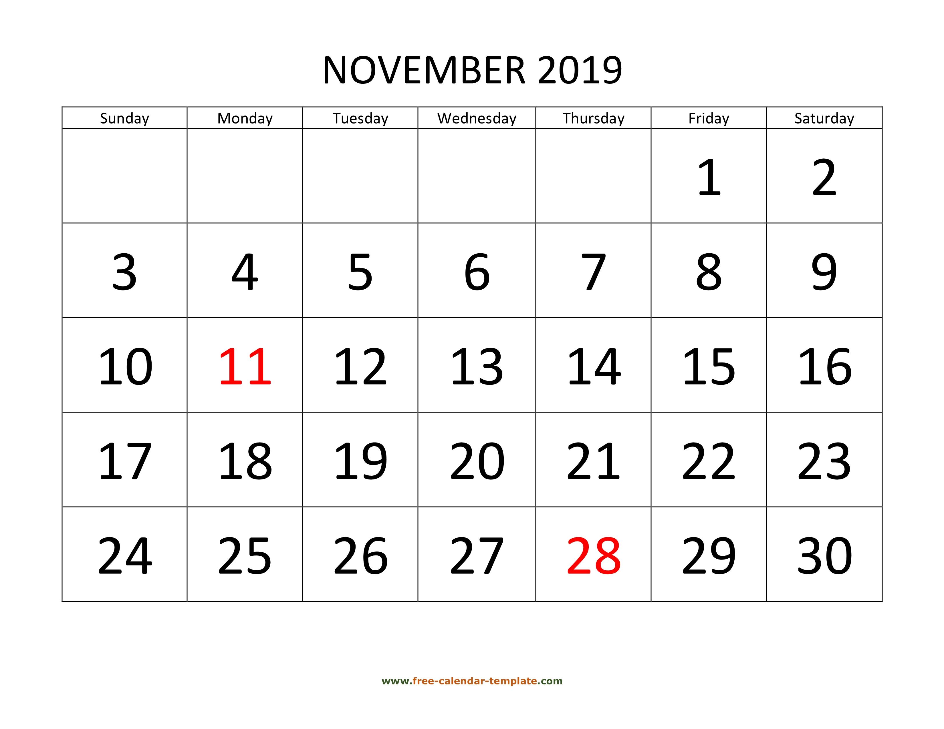 November 2019 Free Calendar Tempplate | Free-Calendar with Free Printable 2020 Calendars Large Numbers