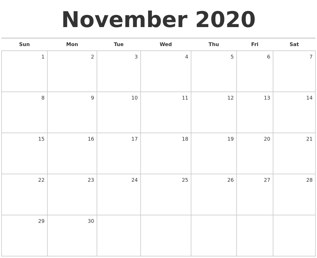 November 2020 Blank Monthly Calendar inside 2020 Monthly Fill In Calendars