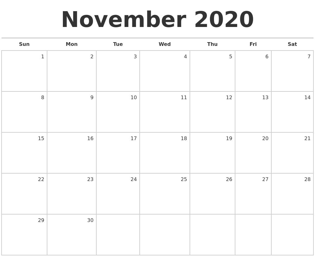 November 2020 Blank Monthly Calendar regarding Bring Up Calander For October And November 2020