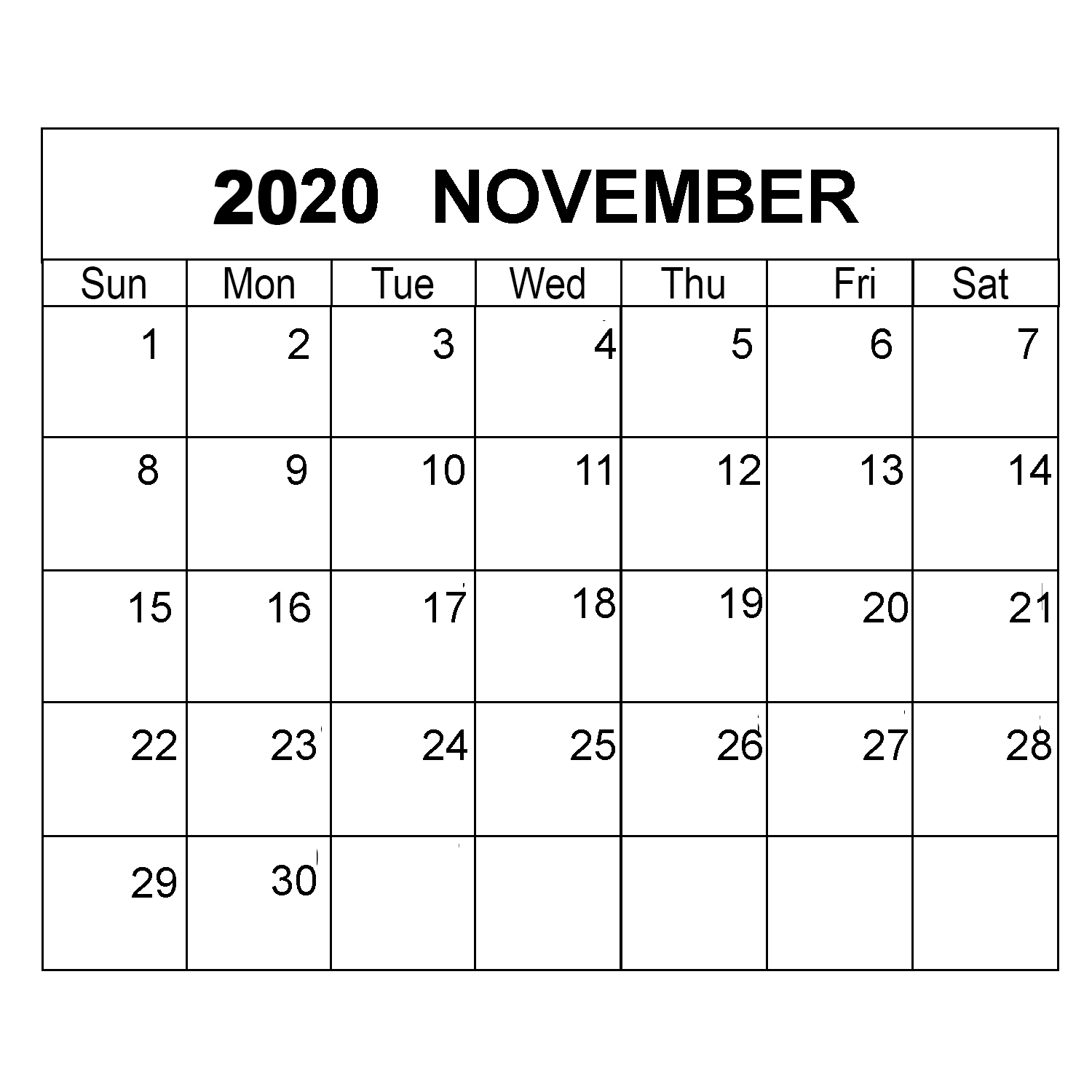 November 2020 Calendar Printable Monthly Template With Notes within Bring Up Calander For October And November 2020