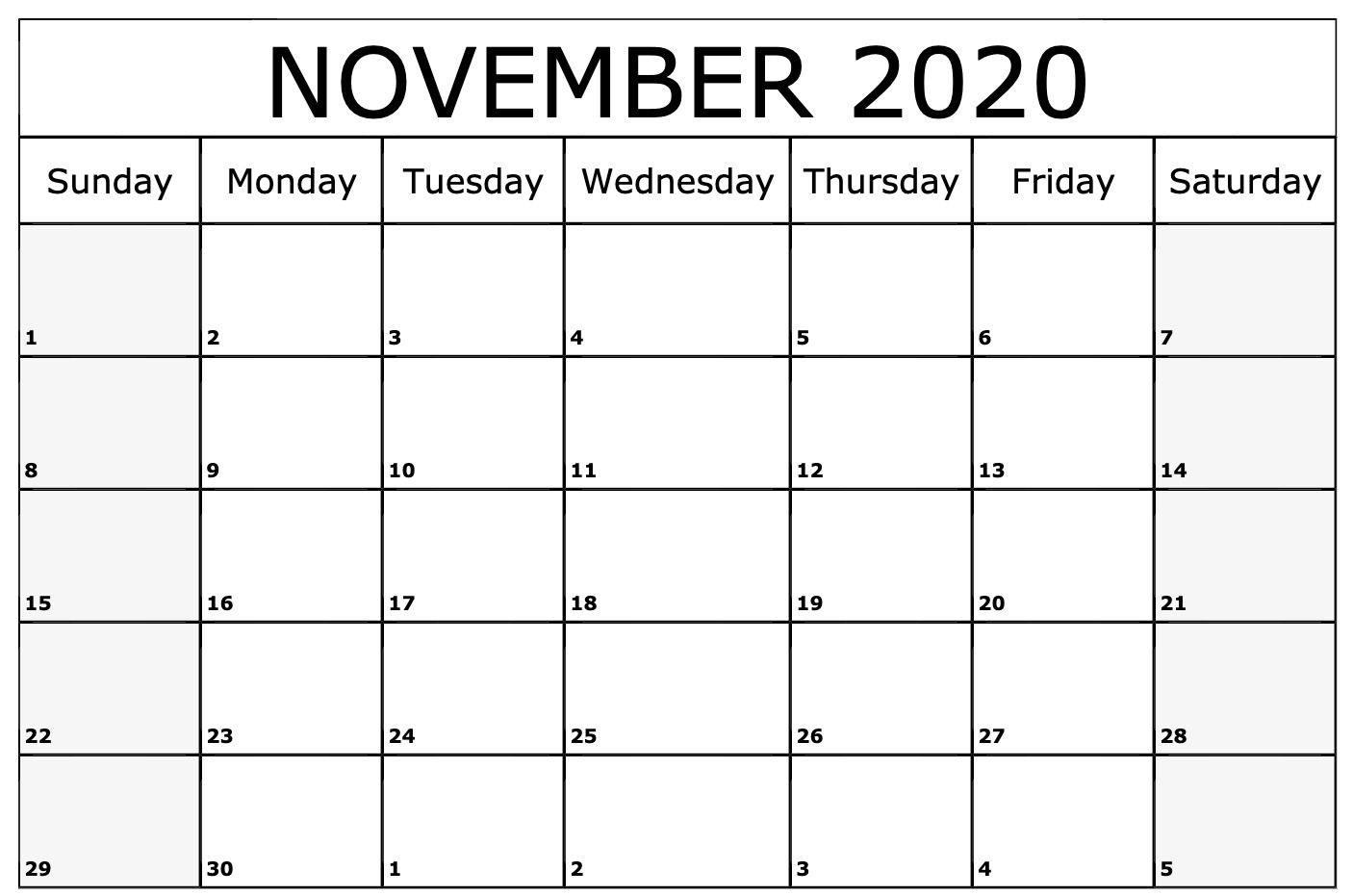 November 2020 Calendar Printable Template | July Calendar with regard to Bring Up Calander For October And November 2020
