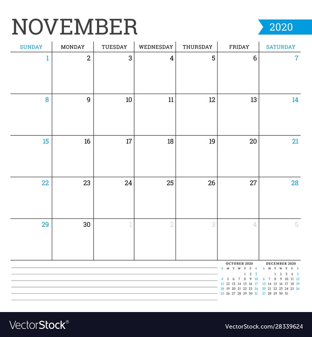 November 2020 Square Monthly Calendar Planner inside Bring Up Calander For October And November 2020