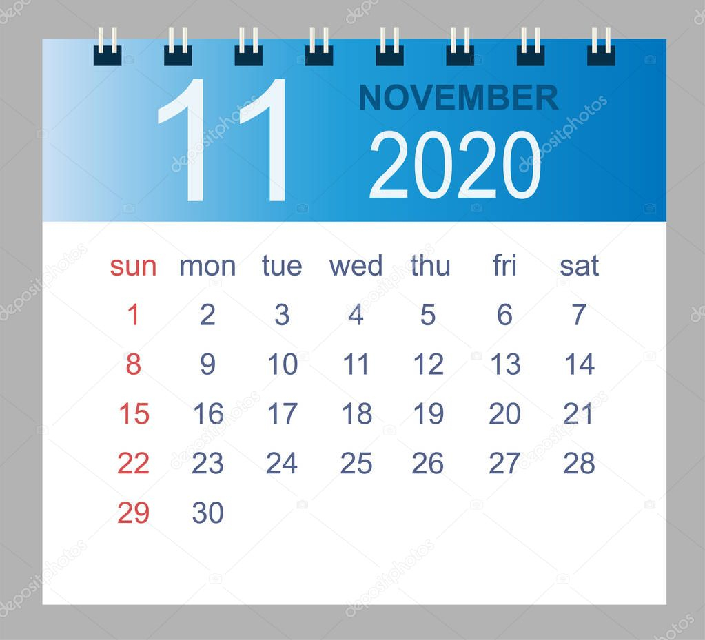 November 2020. Vector Monthly Calendar Template 2020 Year In pertaining to Bring Up Calander For October And November 2020