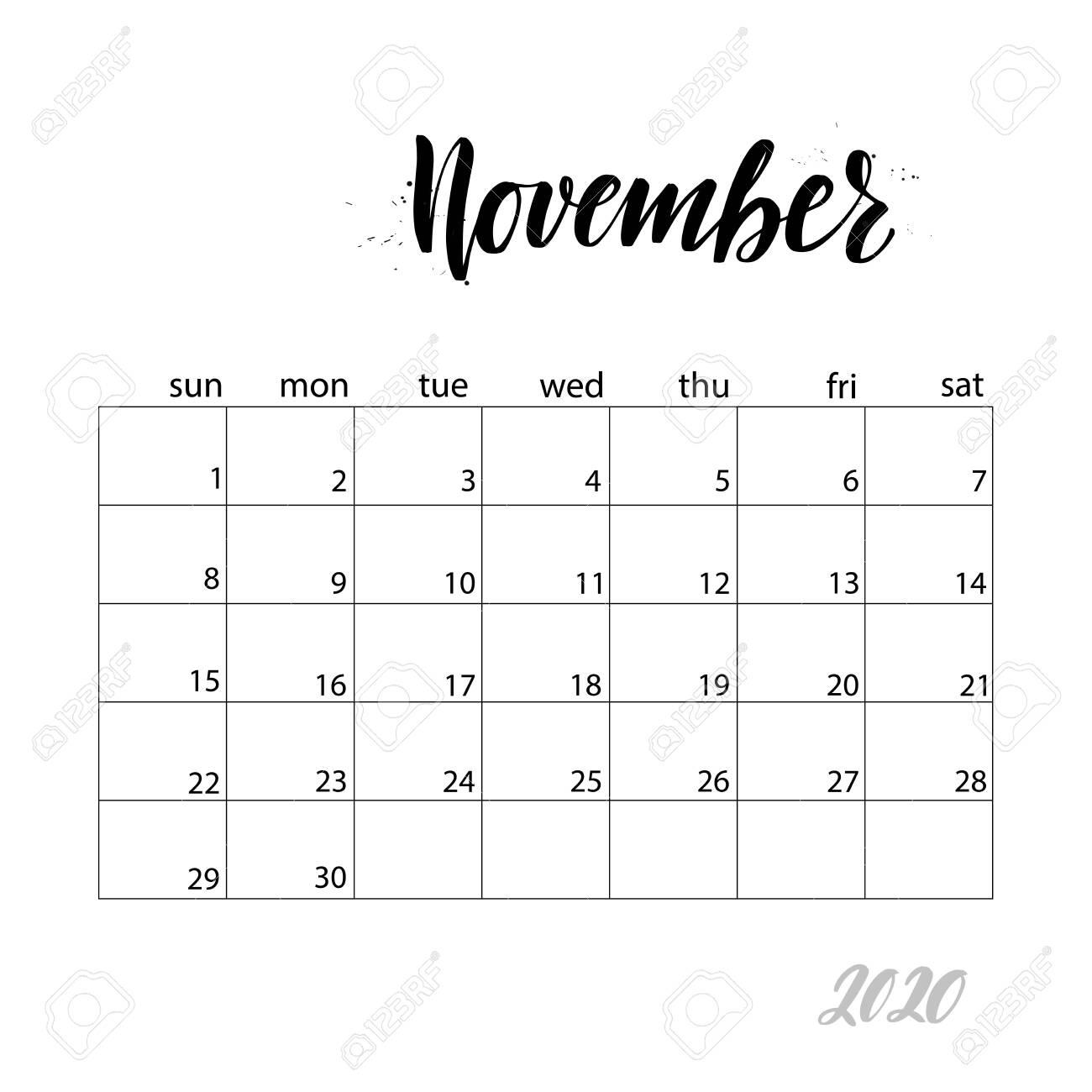 November. Monthly Calendar For 2020 Year. Handwritten Modern.. regarding Bring Up Calander For October And November 2020