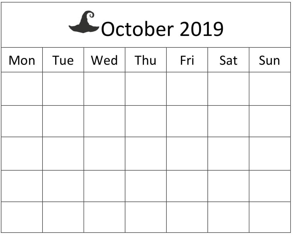 October 2019 Blank Calendar Word Template – Free Latest throughout Blank Calendar Pretty