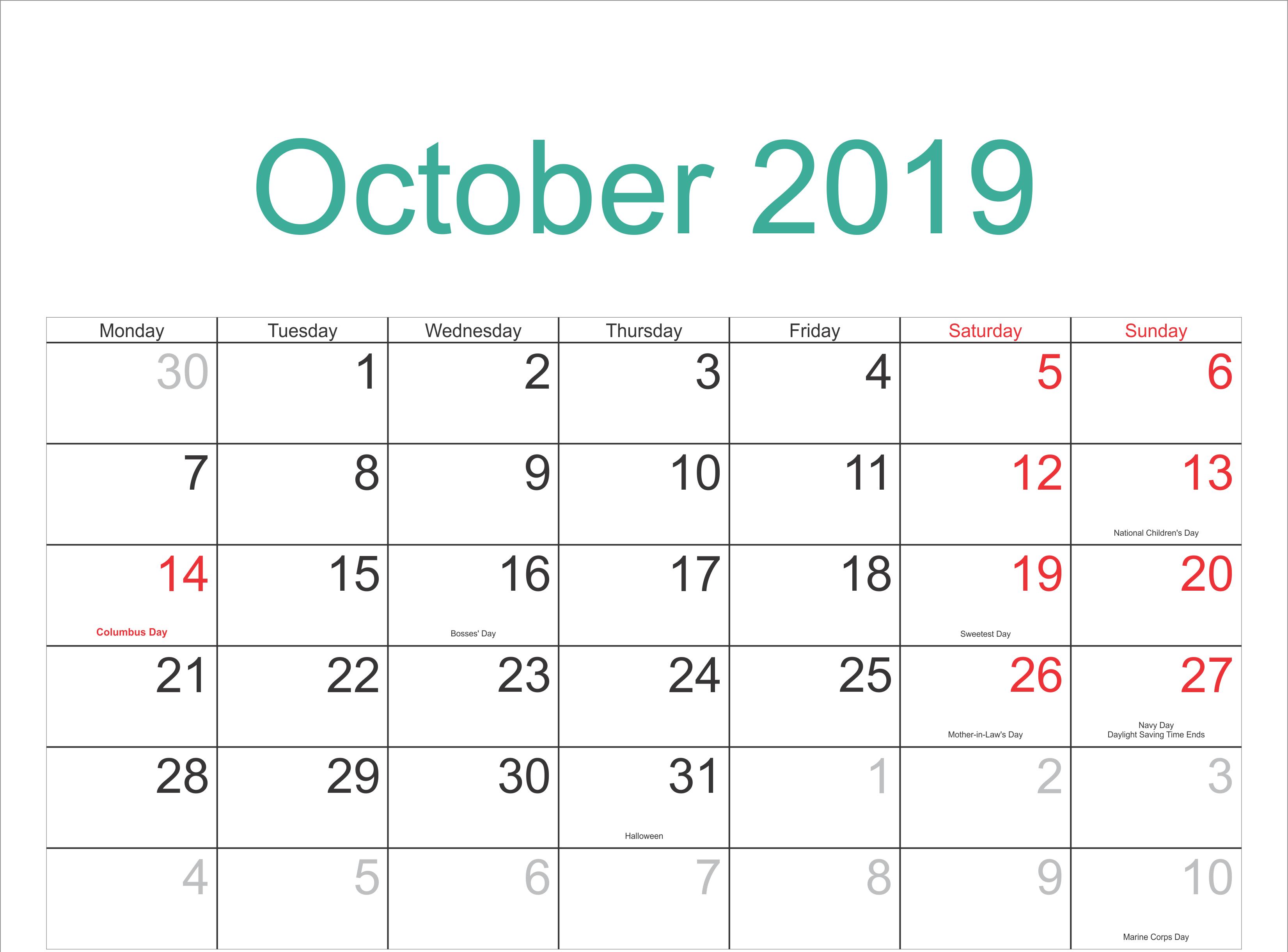 October 2019 Calendar With Holidays Template | October inside October 2020 Printable Planning Calendar In Portrait