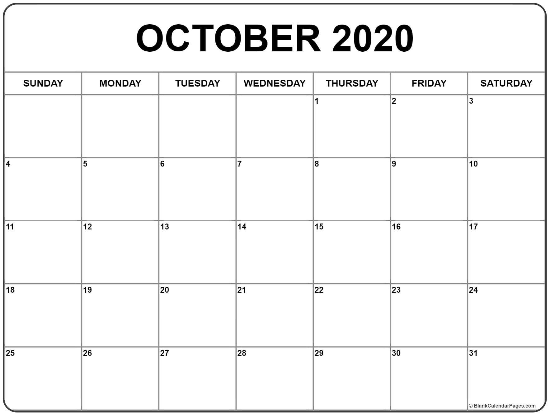 October 2020 Calendar   Free Printable Monthly Calendars inside Small Monthly Calendar Printable 2020 October