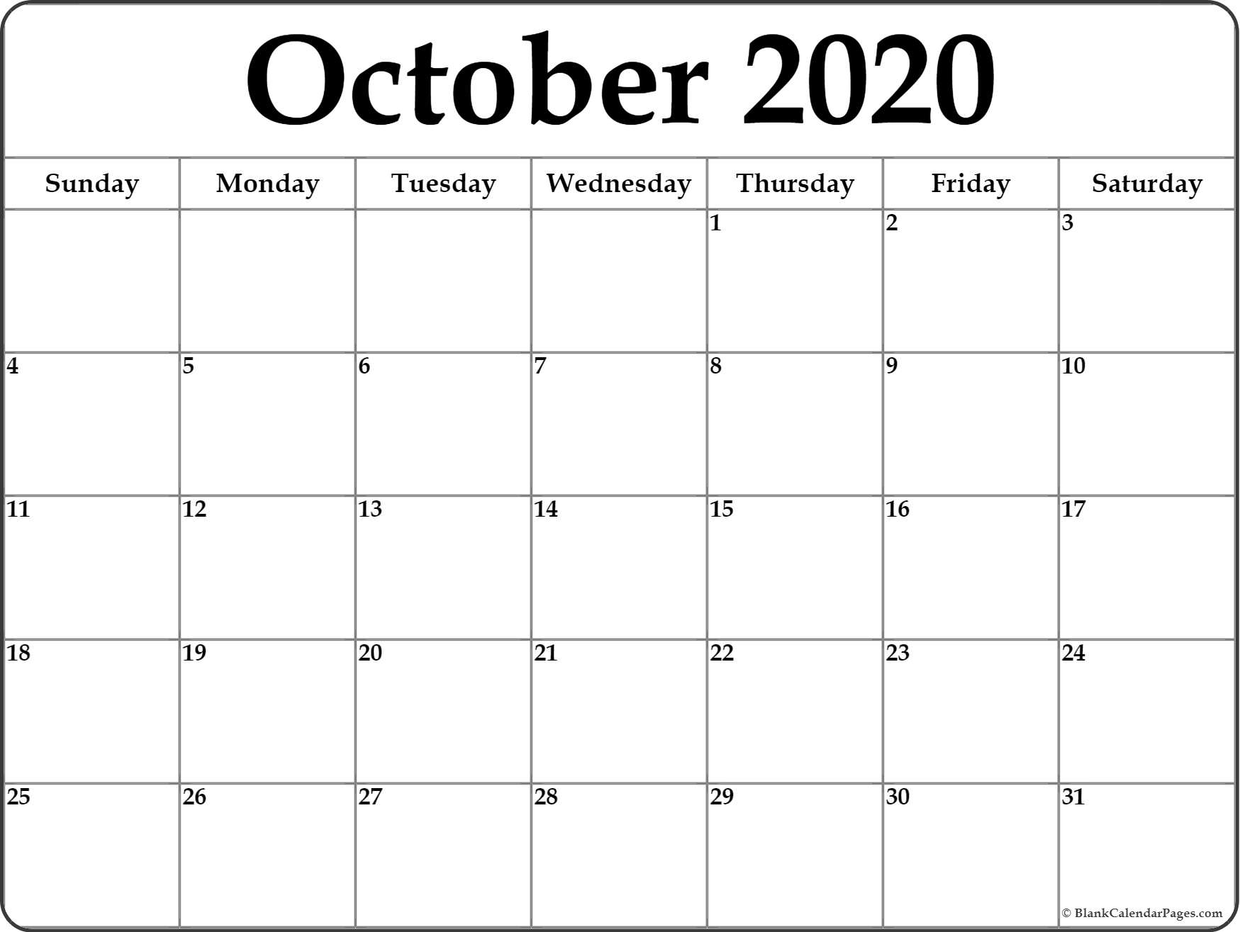 October 2020 Calendar | Free Printable Monthly Calendars intended for Small Monthly Calendar Printable 2020 October