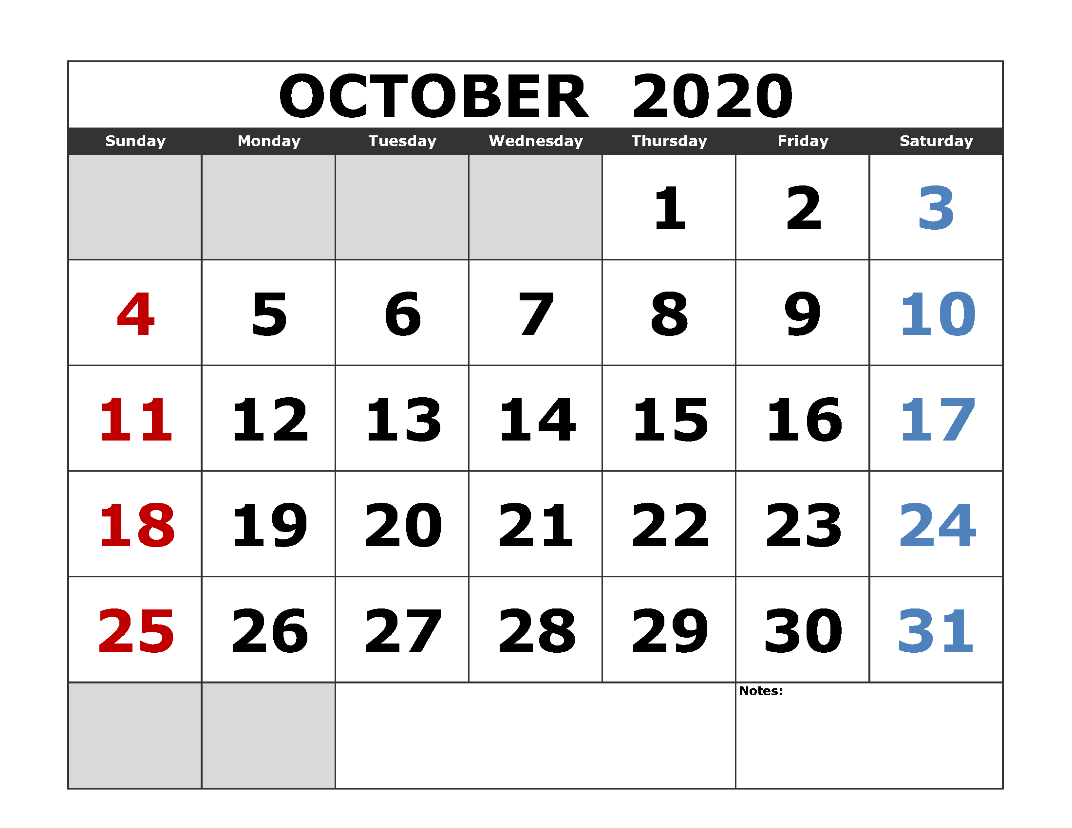 October 2020 Calendar Printable Tips You Will Read This Year for Free Printable 2020 Calendars Large Numbers