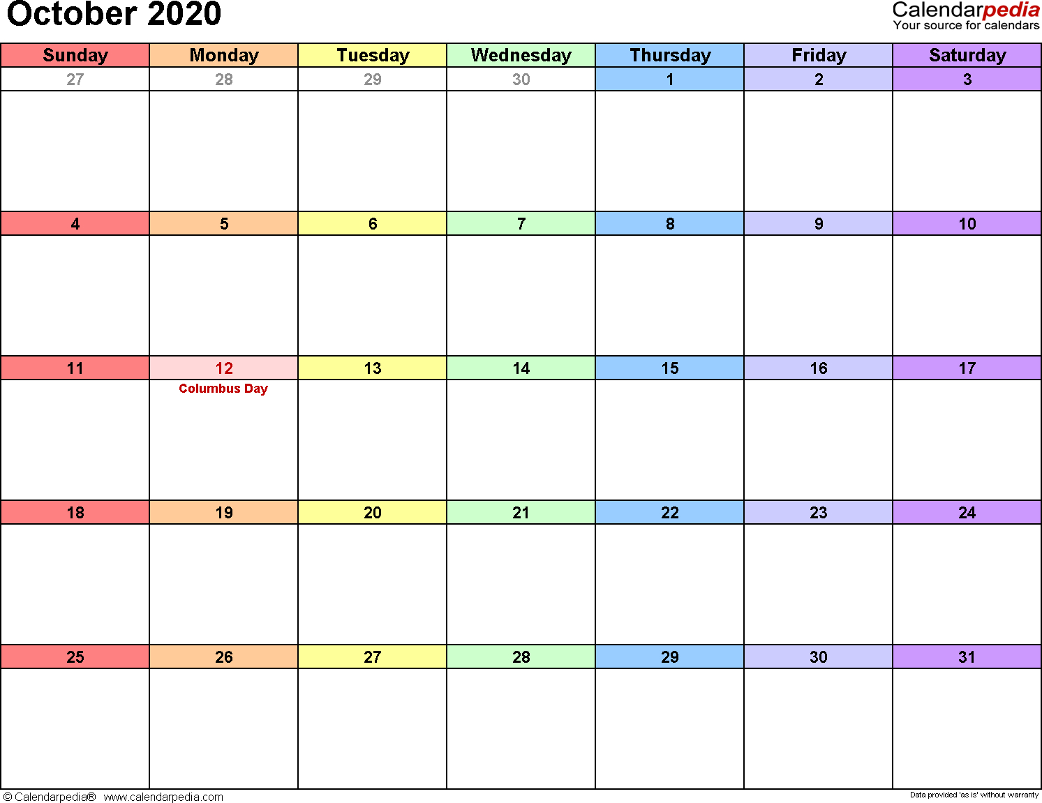 October 2020 Calendars For Word, Excel & Pdf within October 2020 Printable Planning Calendar In Portrait