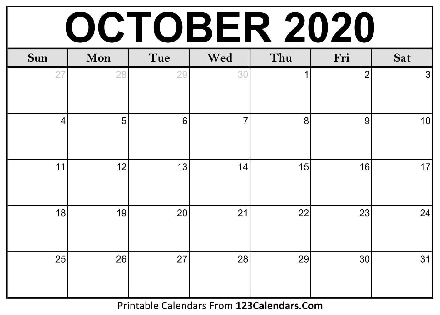 October 2020 Printable Calendar | 123Calendars regarding 2020 Printable Monthly Calendar Free Vertex