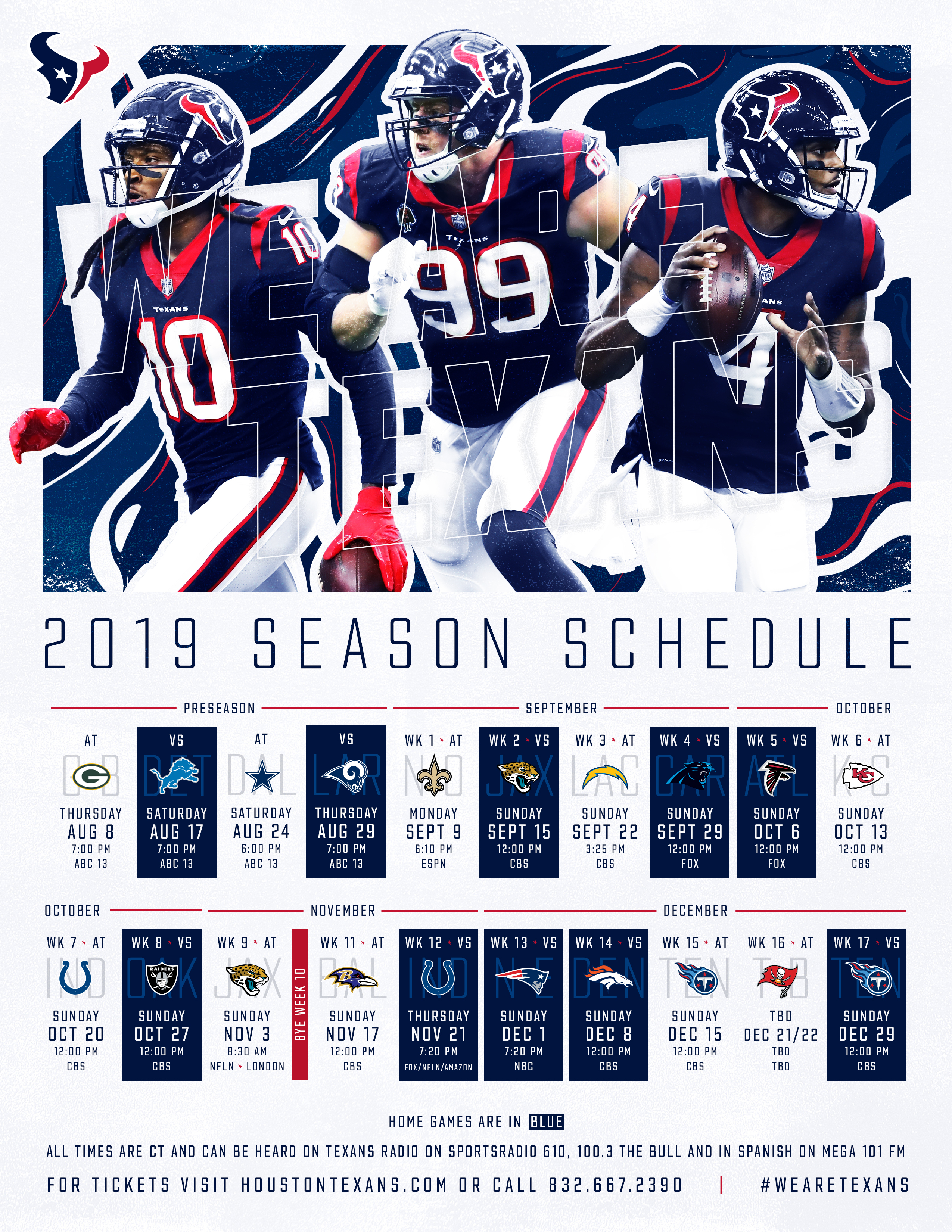 Official Site Of The Houston Texans with regard to Free Printable Nfl Season Schedule 2020 2020