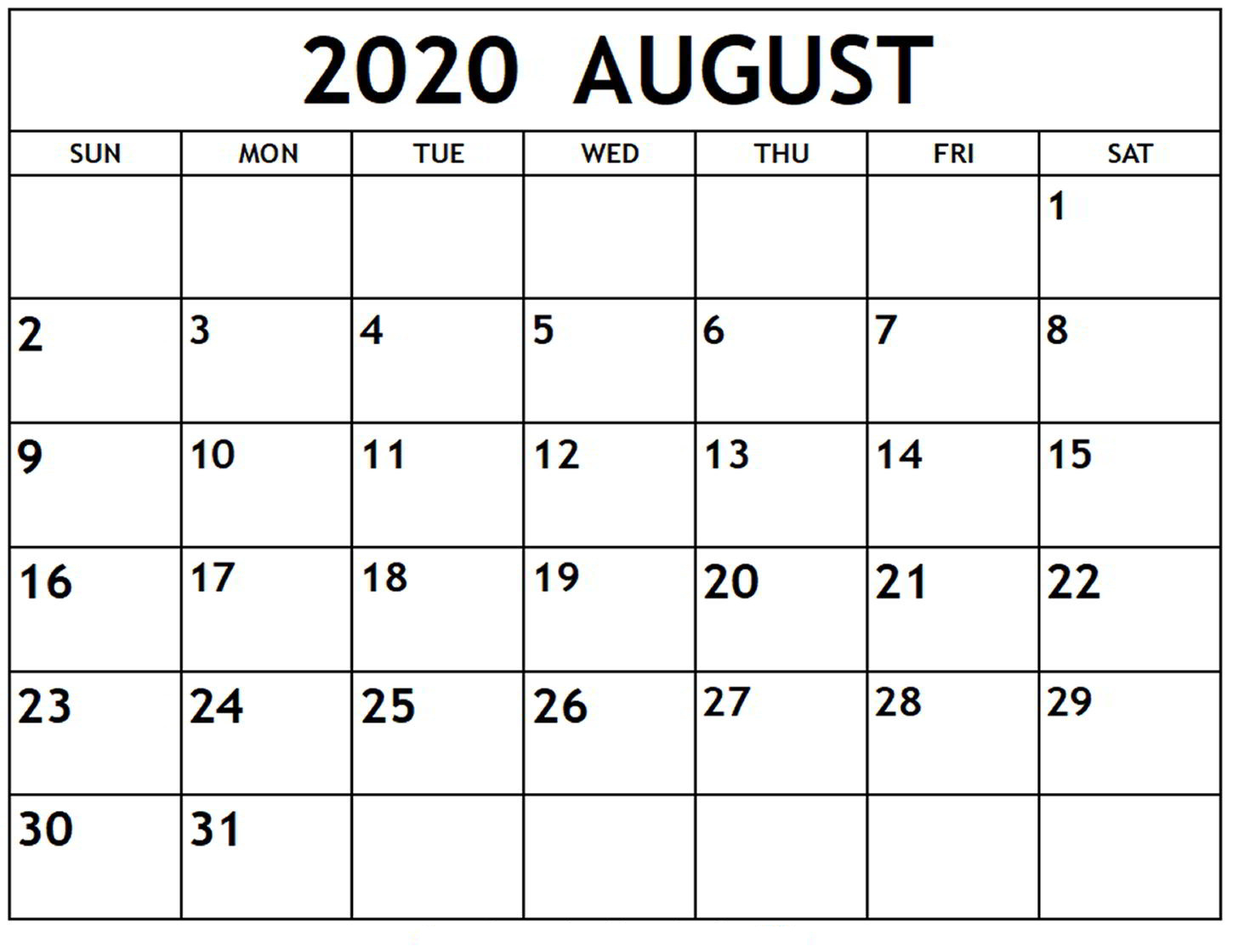Online August 2020 Calendar Printable Usa School Holidays intended for Free Printable 2020 Calendars Large Numbers