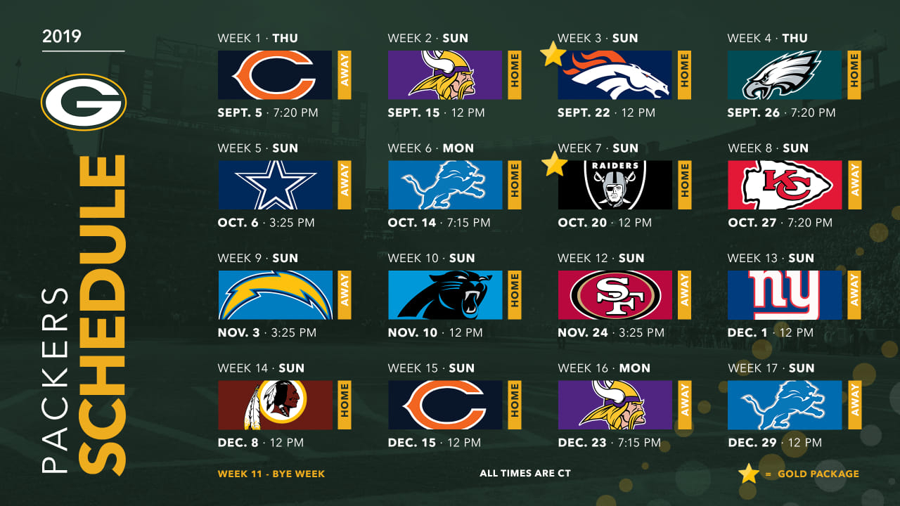 Packers Announce 2019 Schedule inside Free Printable Nfl Schedule 2020 2020