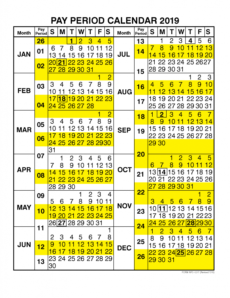 Pay Period Calendar 2019Calendar Year | Free Printable with Federal Pay Period Calendar 2020 Printable