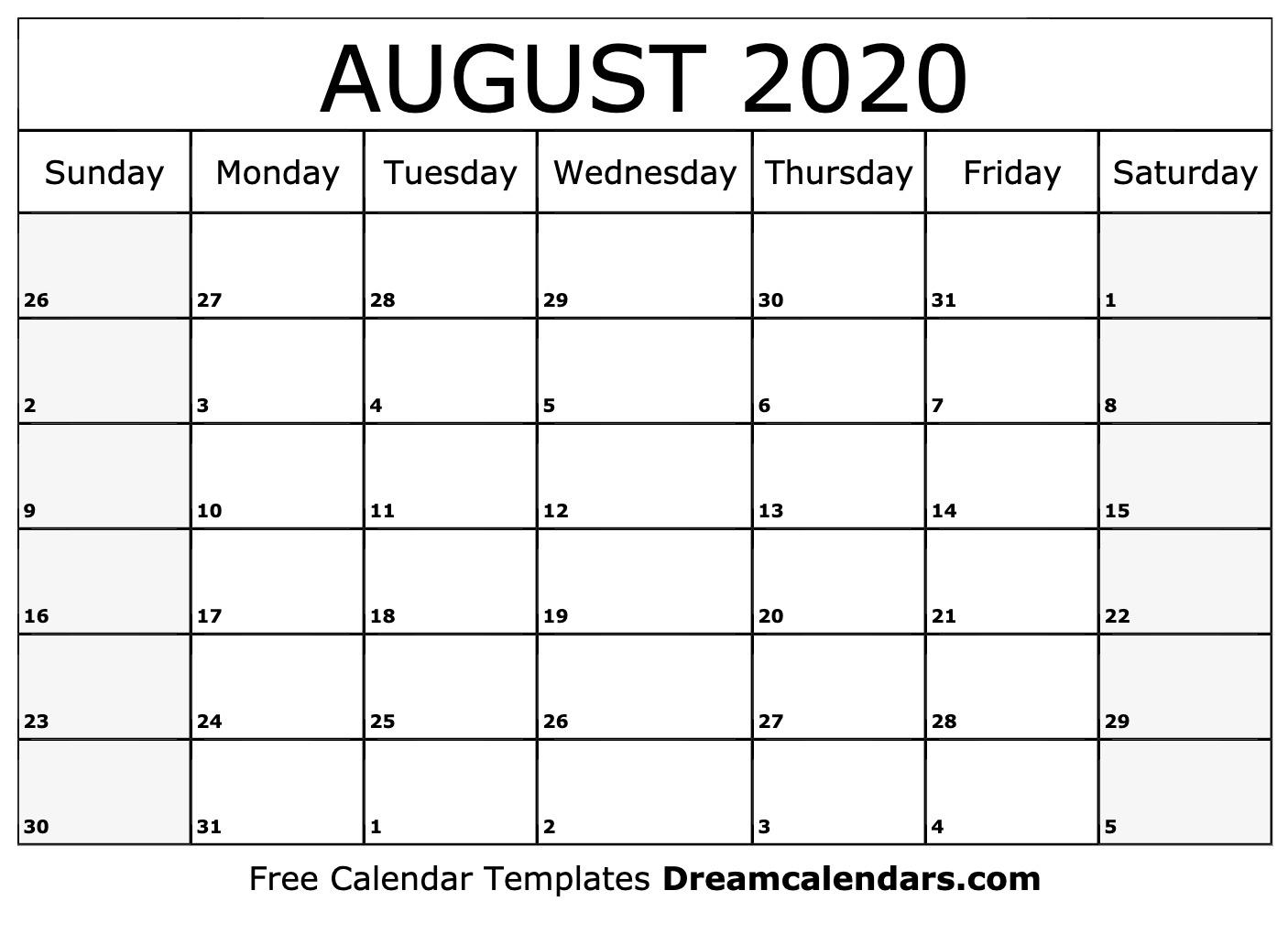 Pretty Blank Augst Calender 2020 | Free Calendar Template with Blank Calendar Pretty