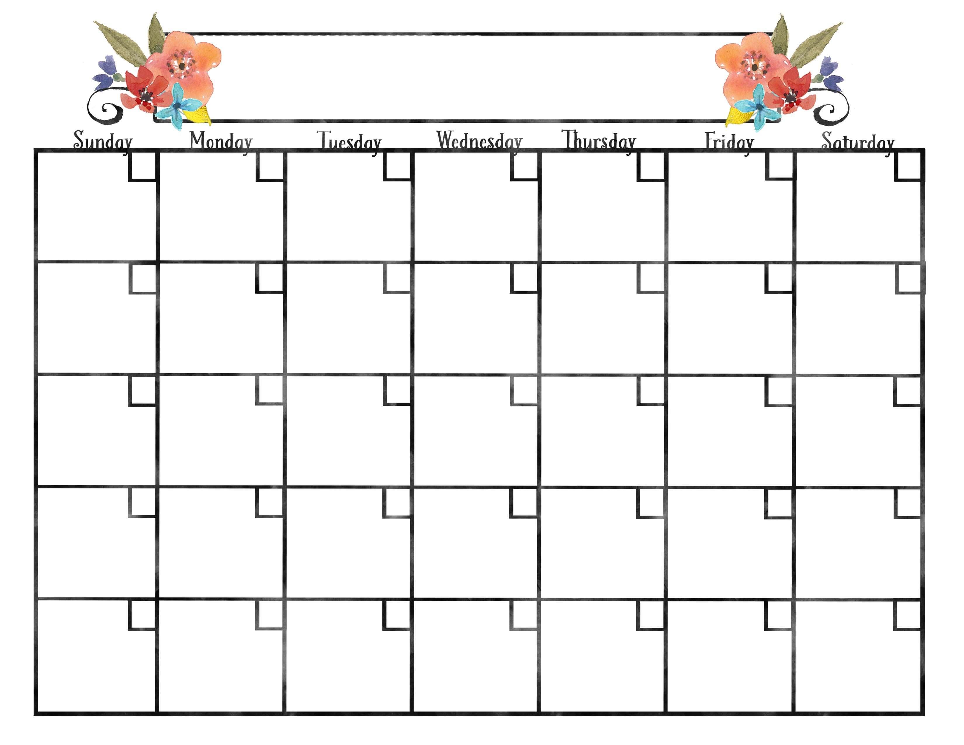 Pretty Blank Calendar - Teke.wpart.co within Blank Calendar Pretty