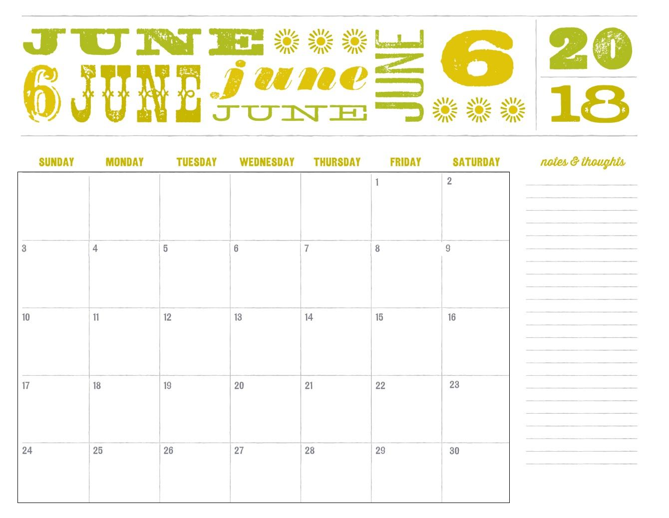 Pretty June 2018 Calendar - Free Printable Calendar, Blank within Blank Calendar Pretty