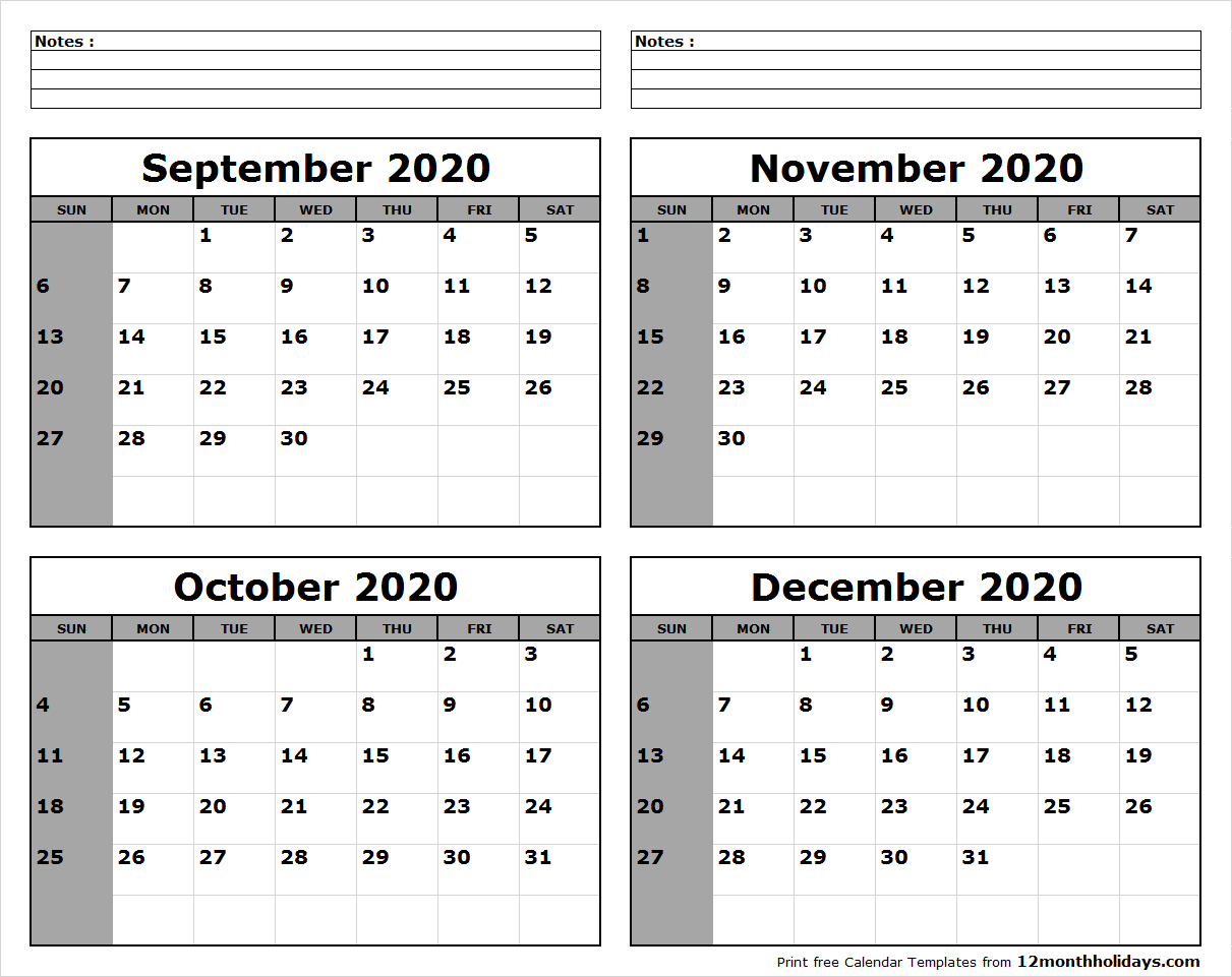 Print Four Month September October November December 2020 with October To December 2020 Calendar