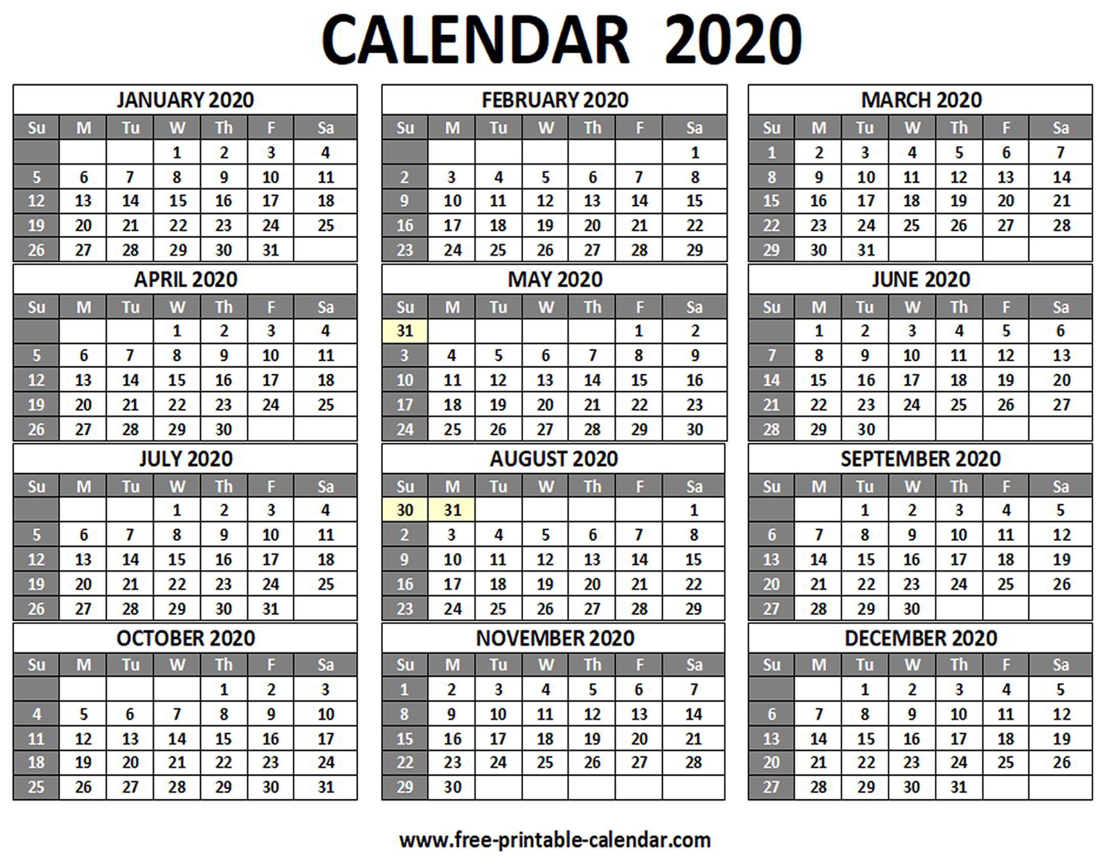 Printable 2020 Calendar - Free-Printable-Calendar within 2020 Printable Calendar Sunday To Saturday