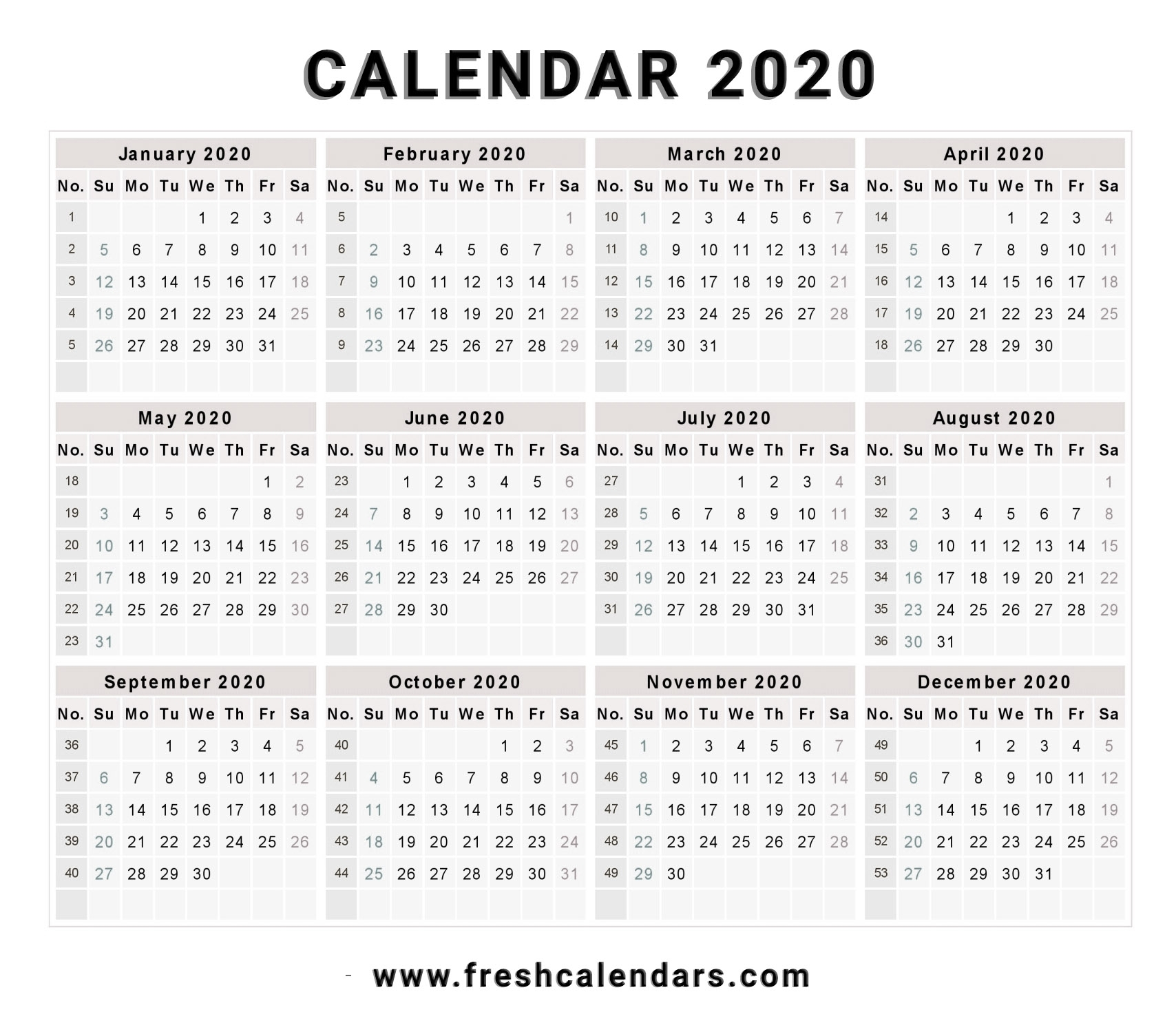 Printable 2020 Calendar With Week Numbers | Monthly throughout 2020 Monthly Calinder With Week Numbers