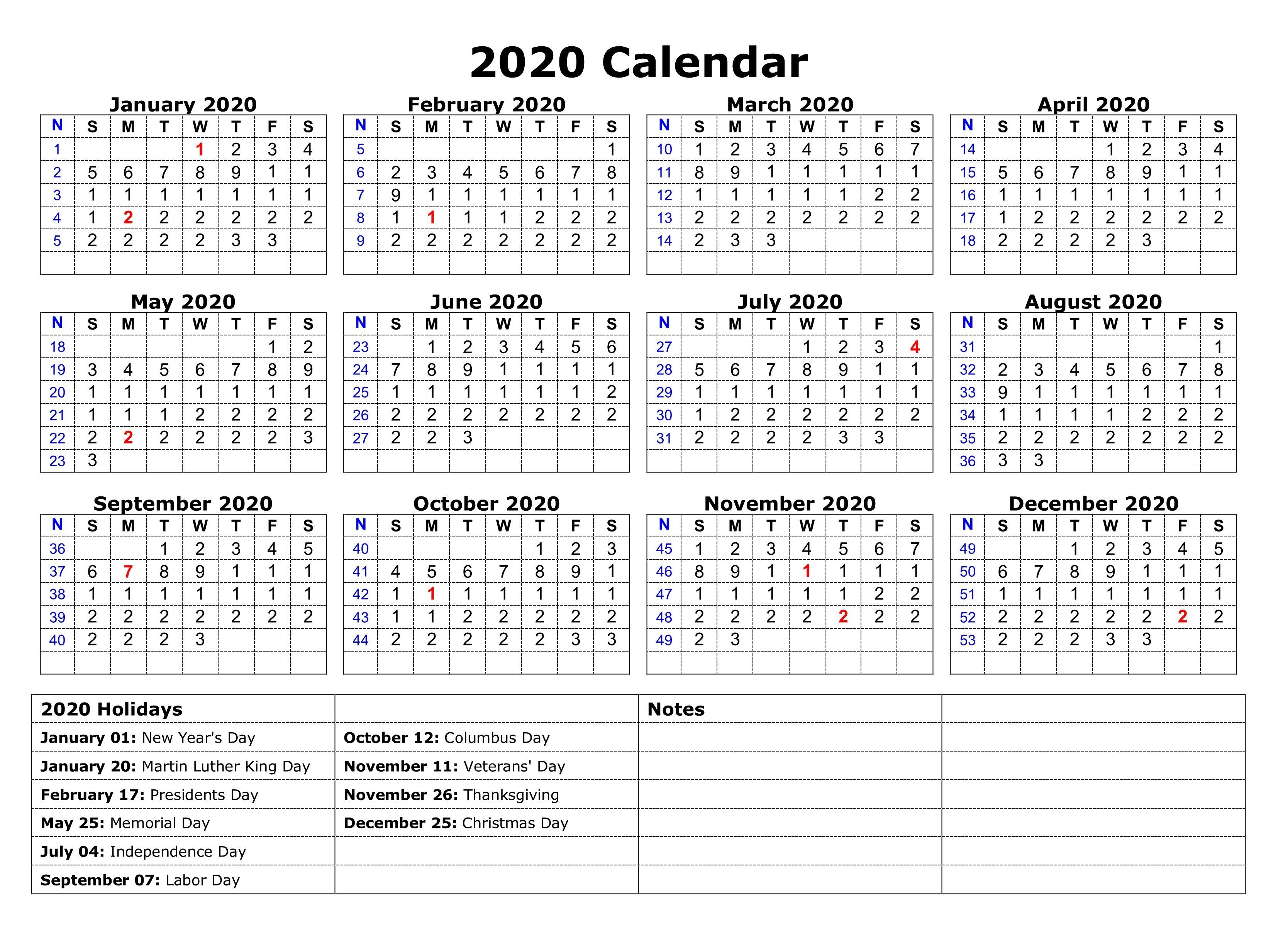 Printable 2020 One Page Holidays Calendar | November in Federal Holidays 2020 Calendar Printable