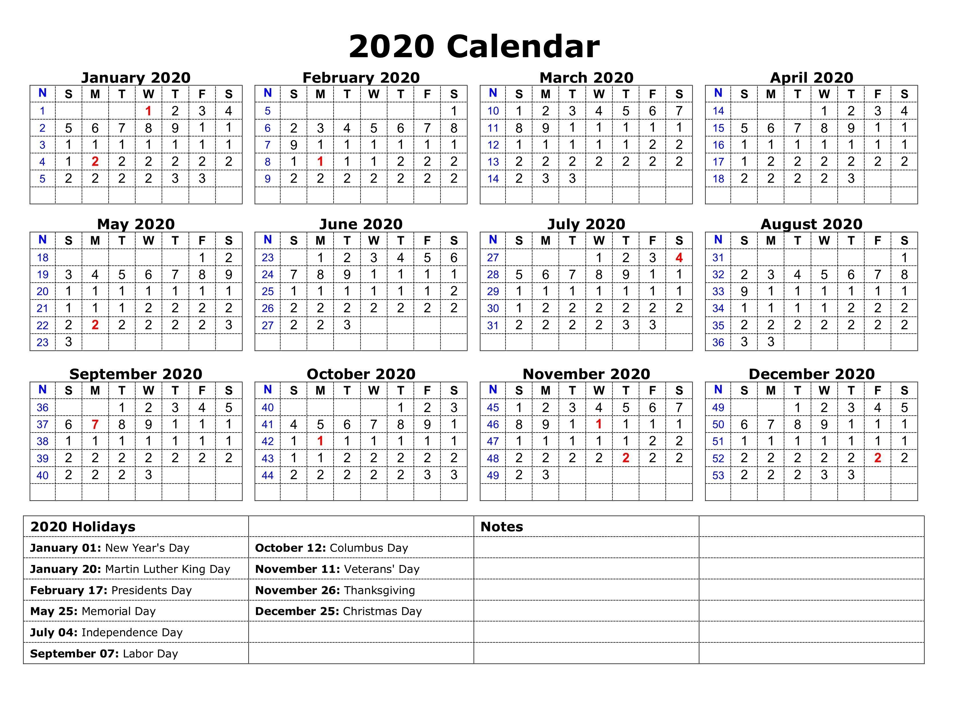 Printable 2020 One Page Holidays Calendar | November regarding 2020 Calendar With Holidays Printable Free