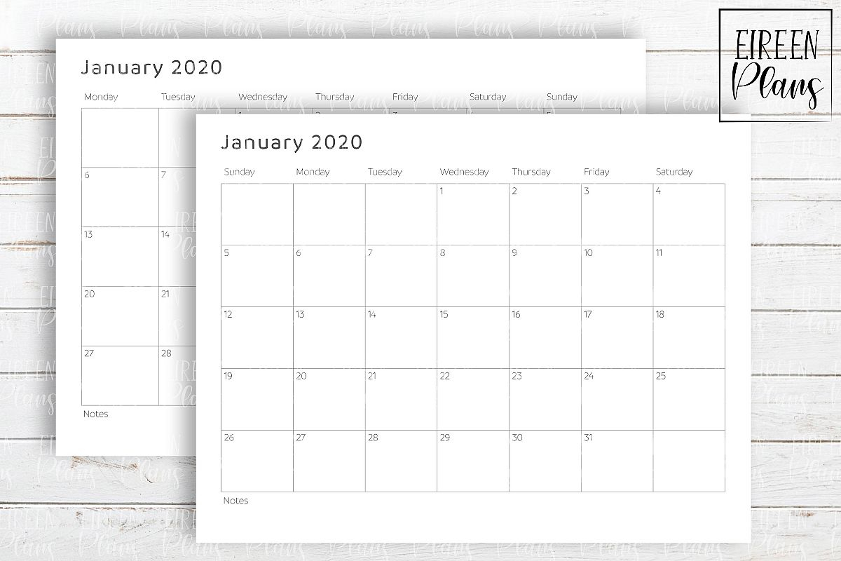 Printable 2020 Write-On Minimalist Calendar within 2020 December Calendar 8 X11 Printable