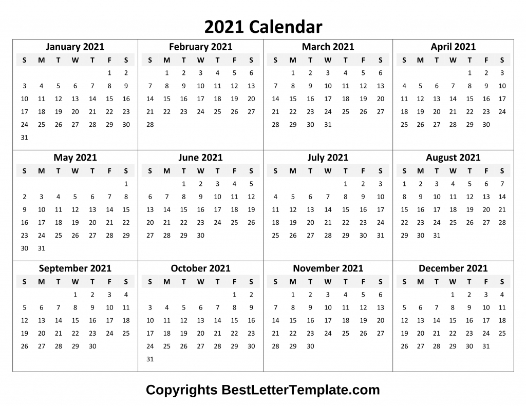 Printable 2021 Calendar Template In Pdf, Word & Excel pertaining to 2021 Printable Calendar Free